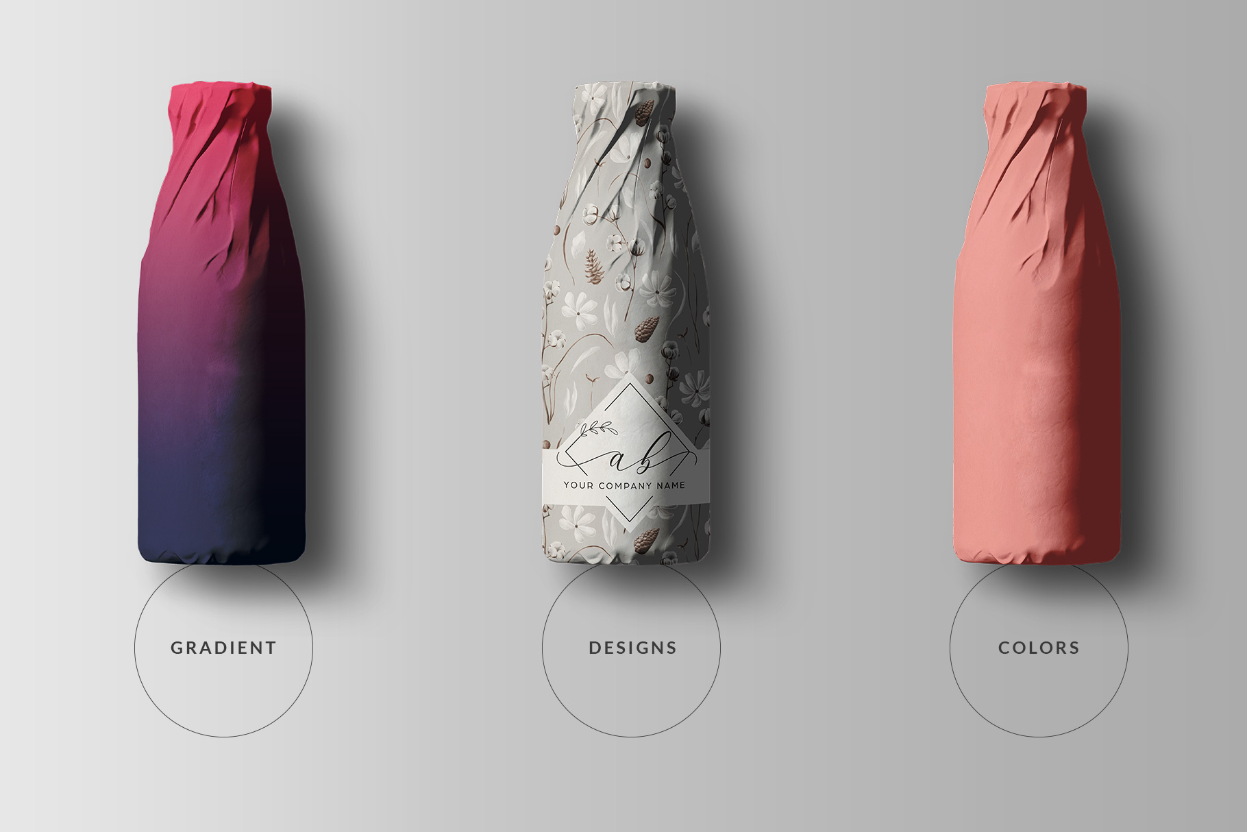 types of the top view wrapped bottle mockup