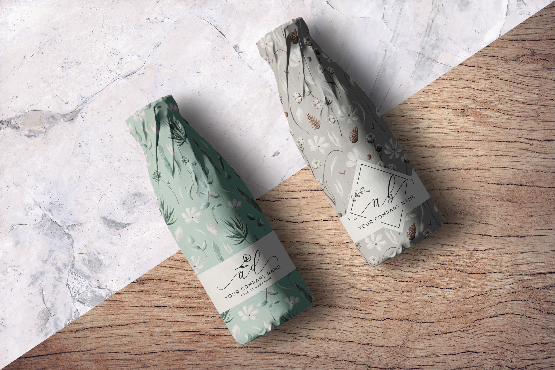 background option of the top view wrapped bottle mockup
