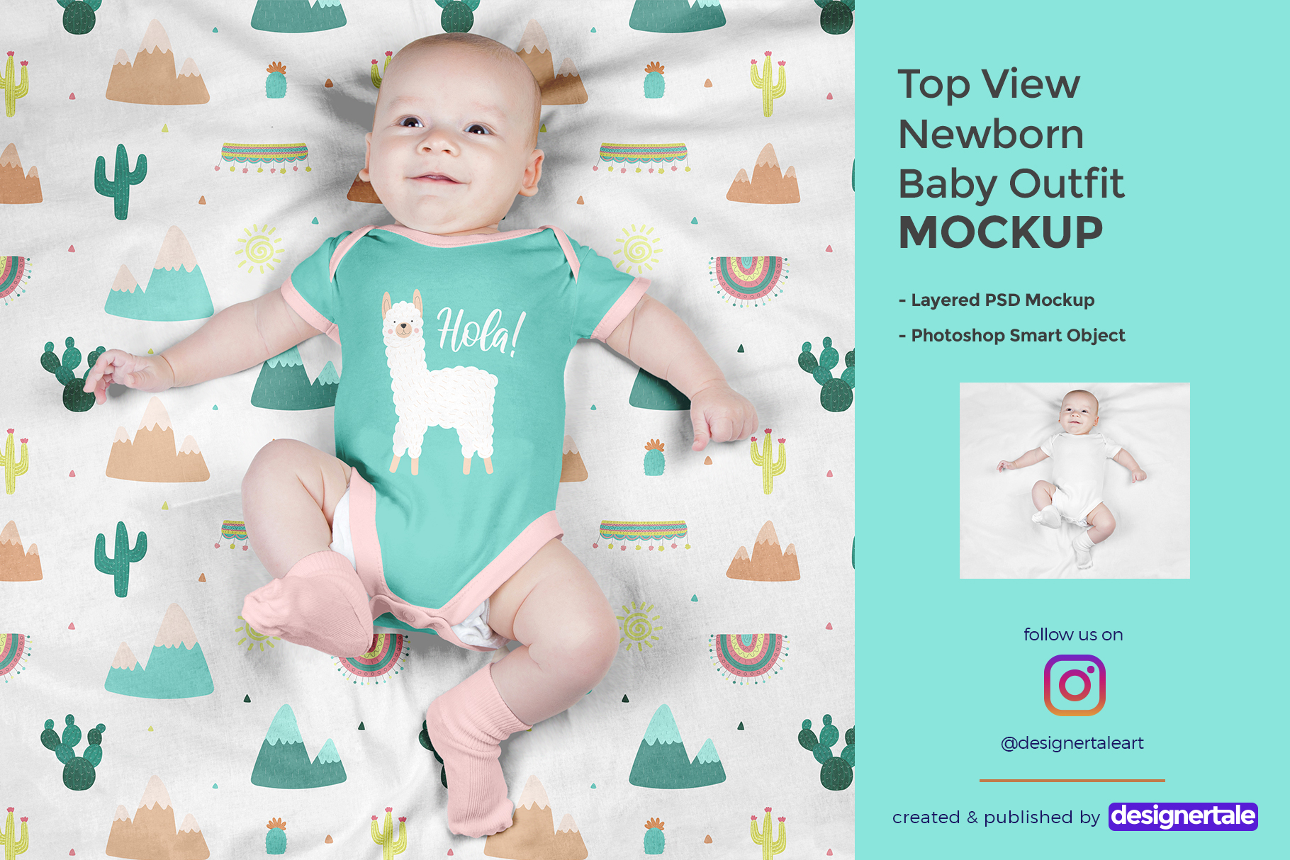 top view newborn baby outfit mockup
