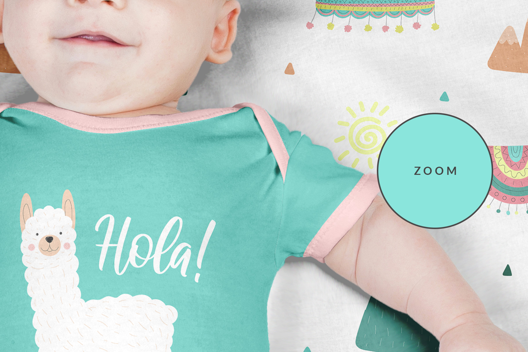 zoomed in image of the top view newborn baby outfit mockup