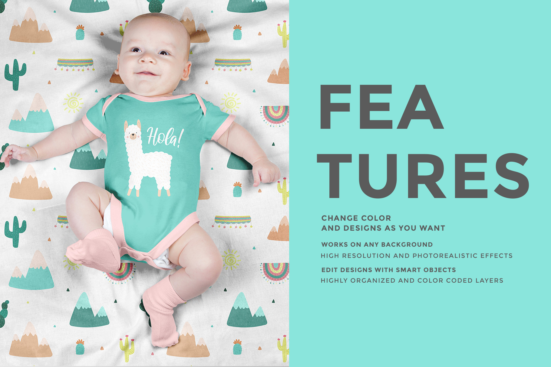 features of the top view newborn baby outfit mockup