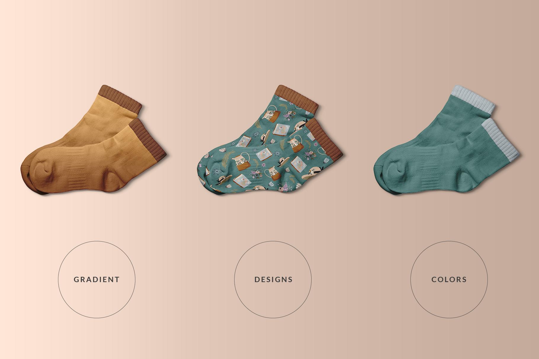 types of the top view half socks mockup