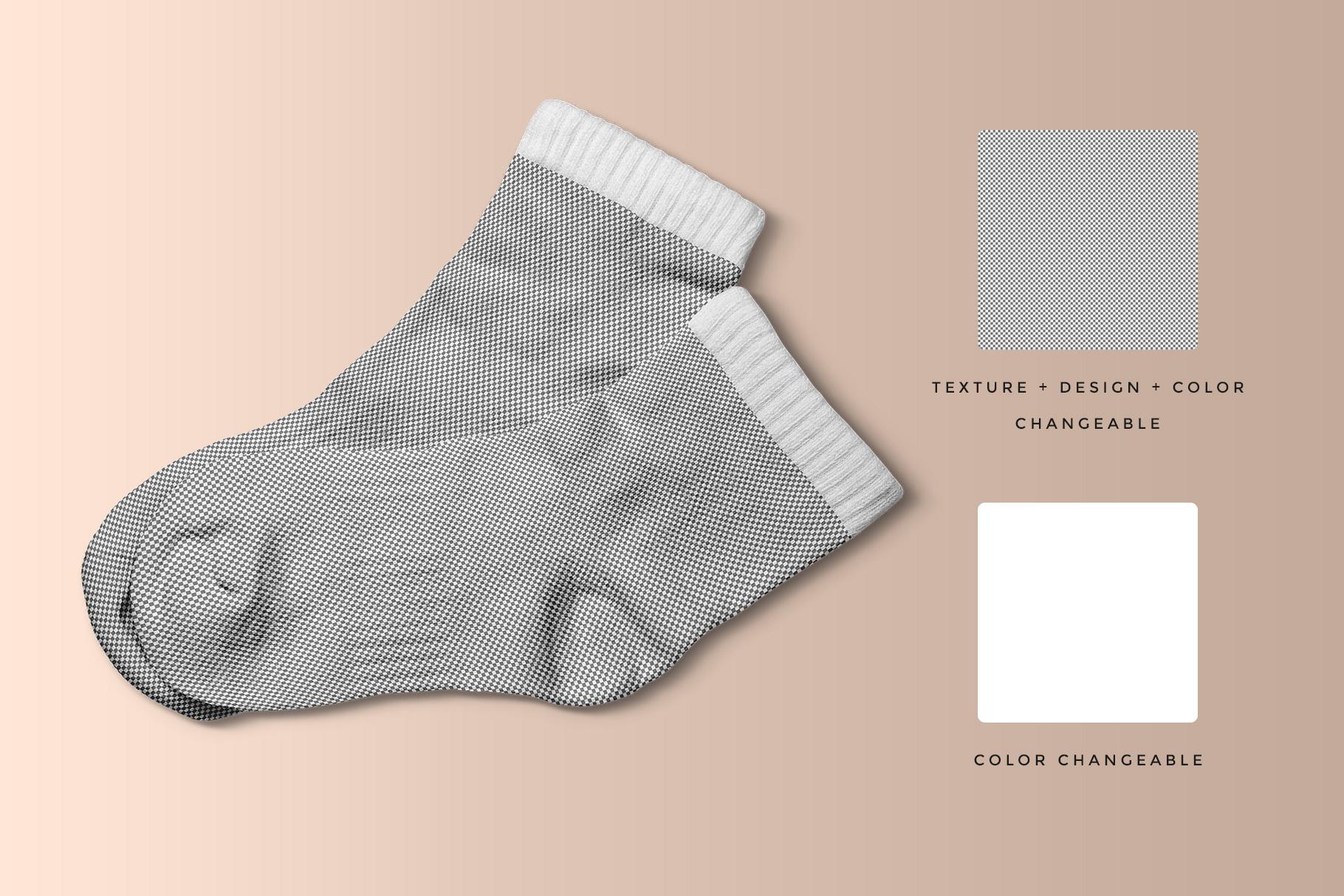 editability of the top view half socks mockup