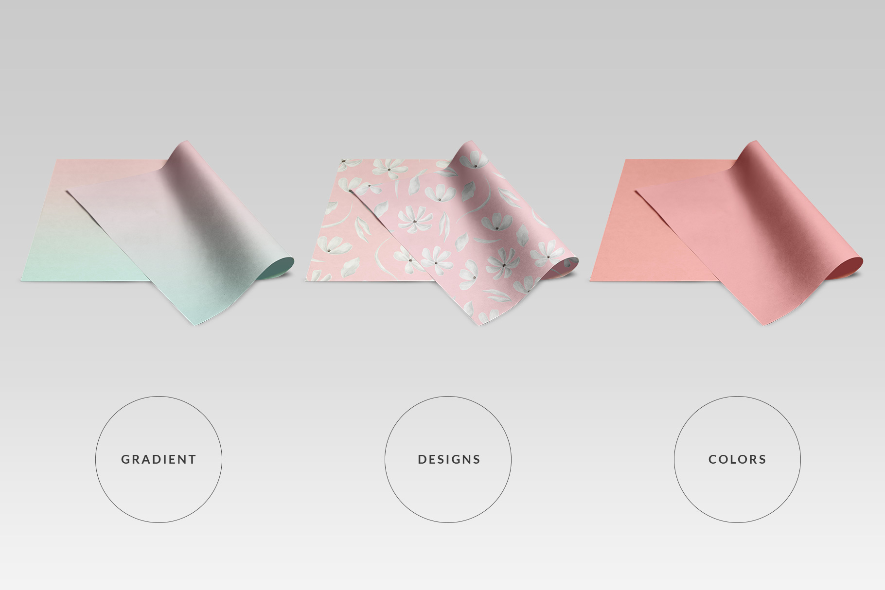 types of the top view folded wrapping paper mockup
