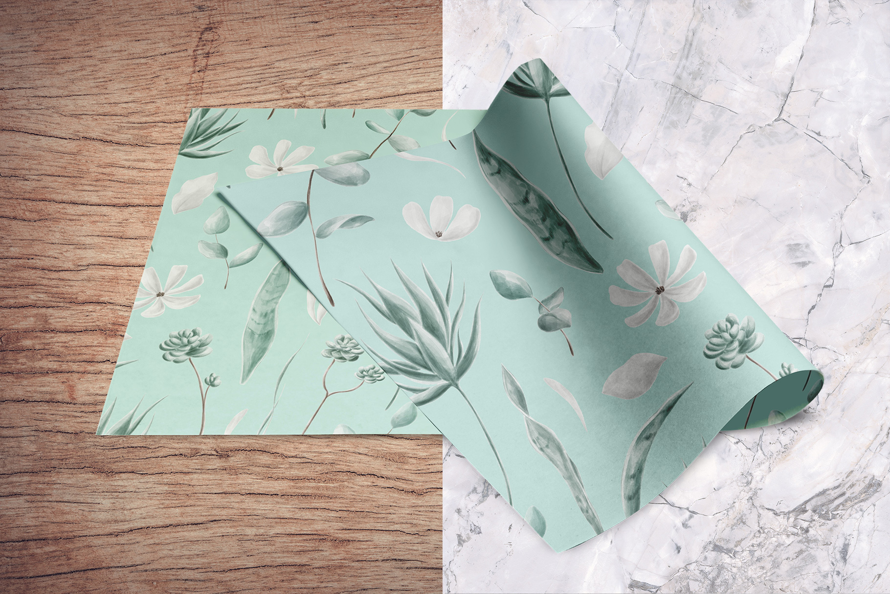 background options of the top view folded wrapping paper mockup