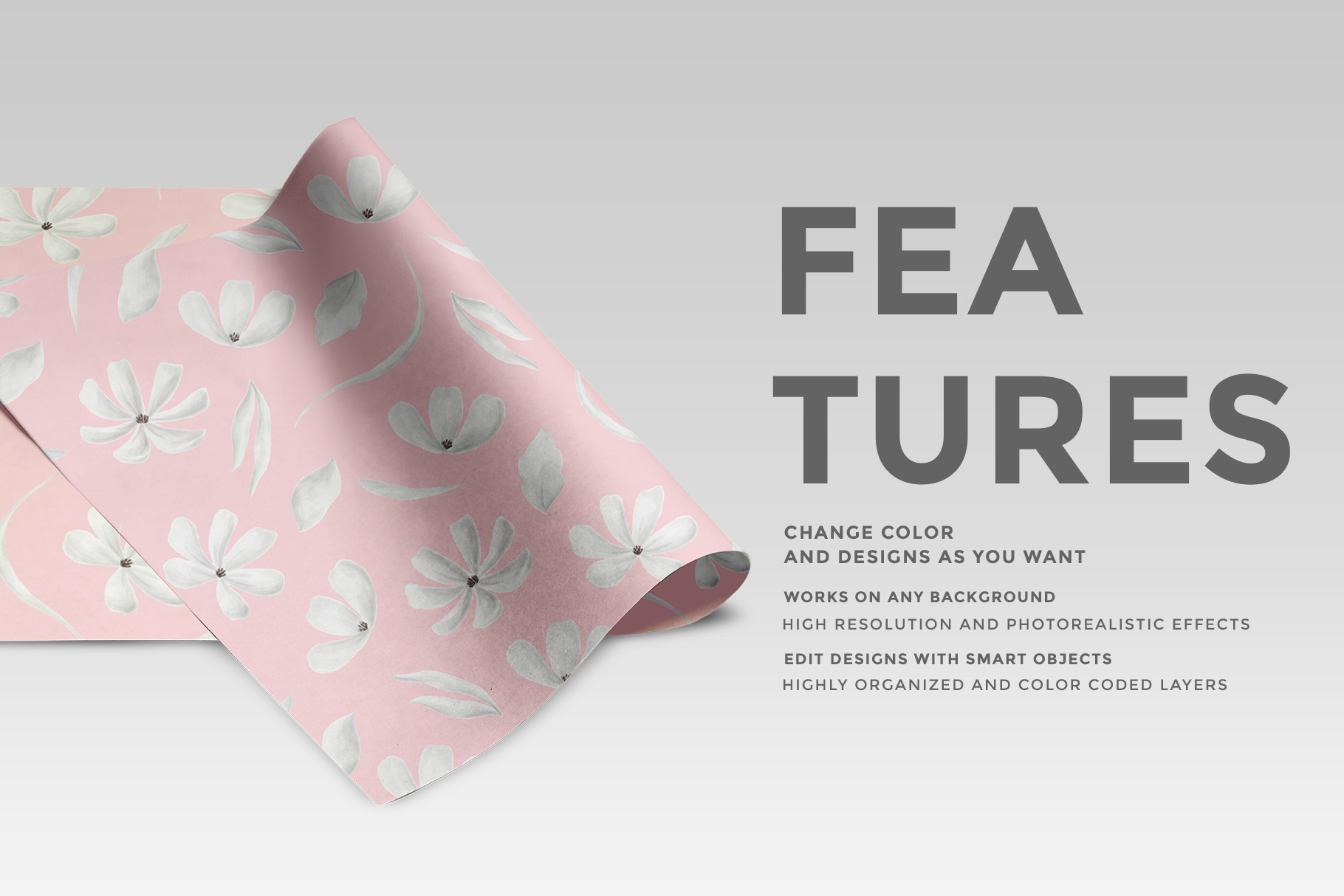 features of the top view folded wrapping paper mockup