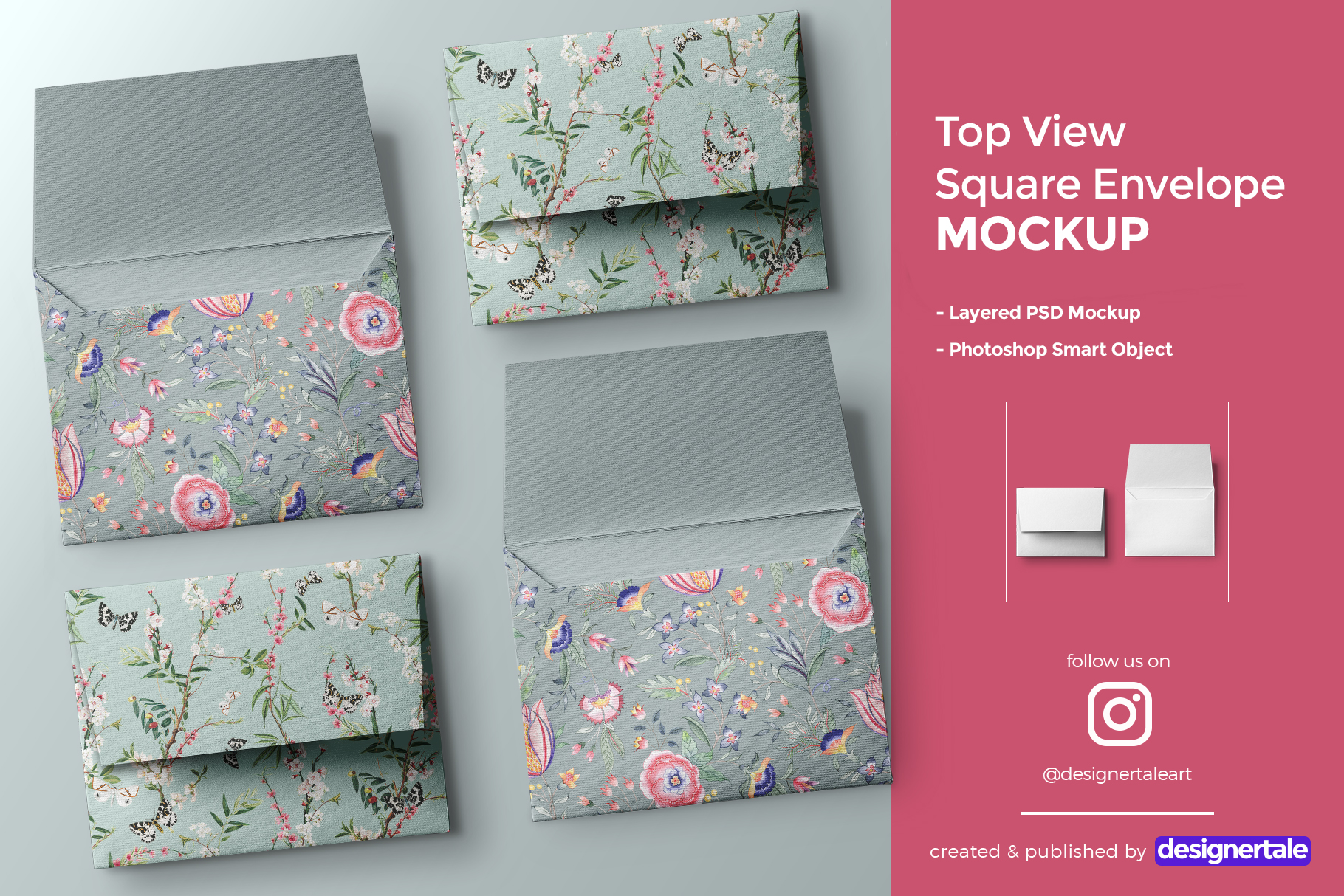 top view square envelope mockup
