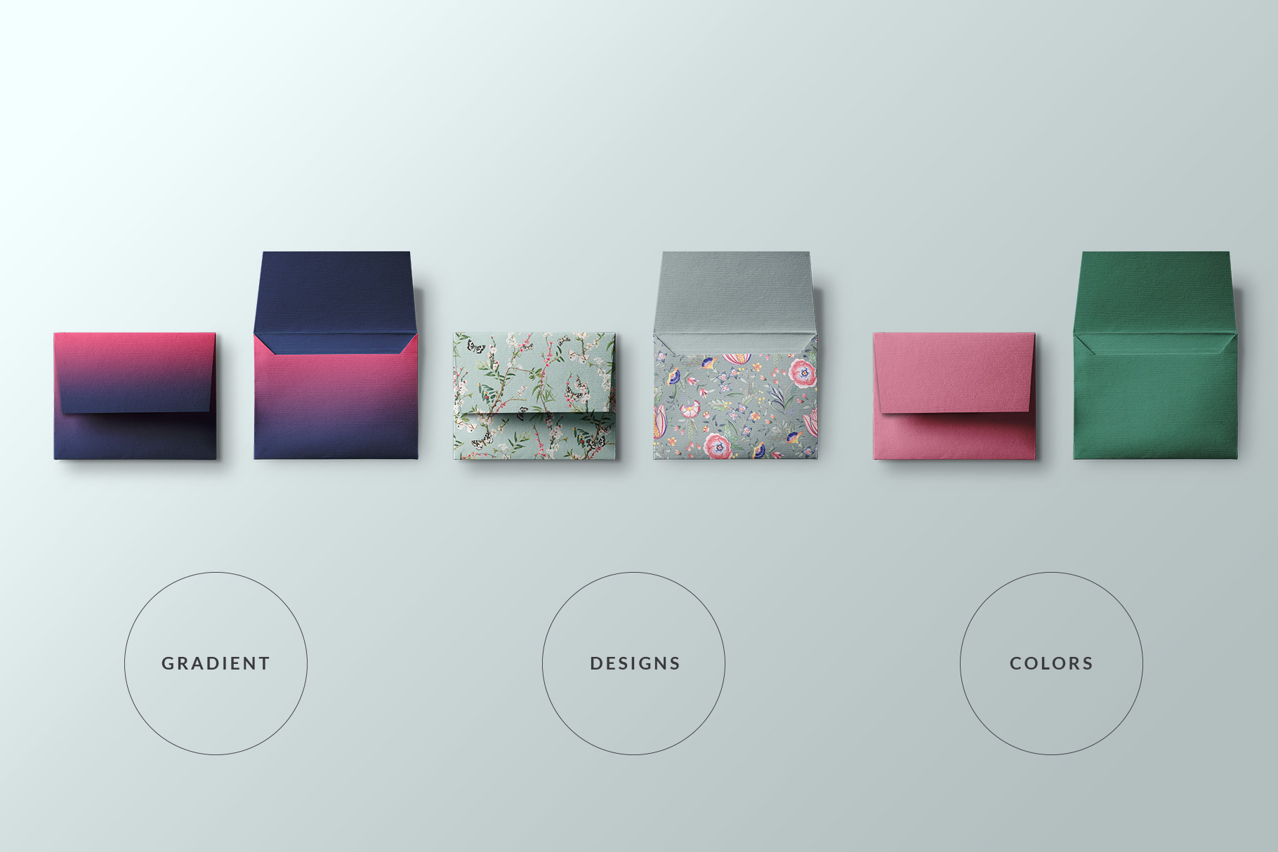 types of the top view square envelope mockup