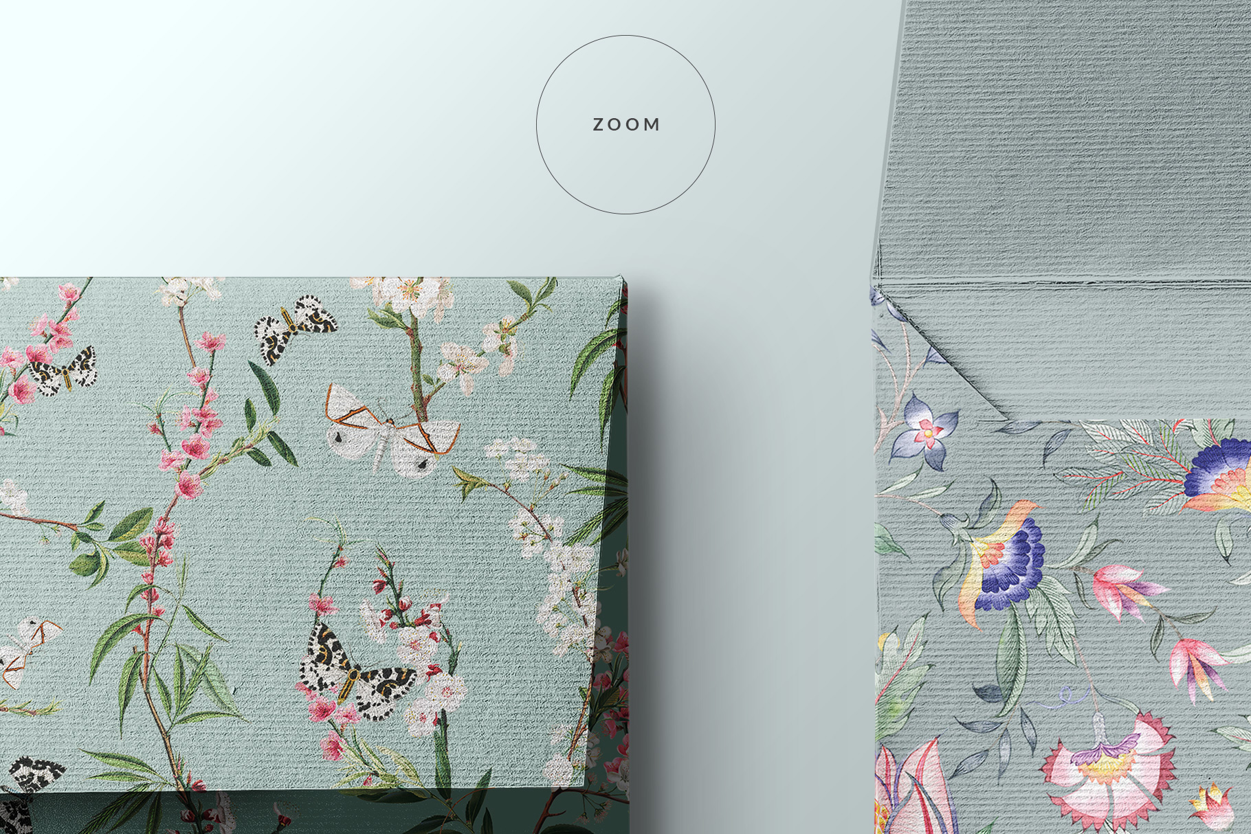 zoomed in image of the top view square envelope mockup