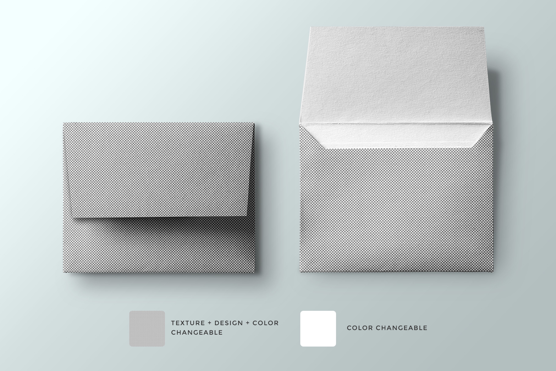 editability of the top view square envelope mockup