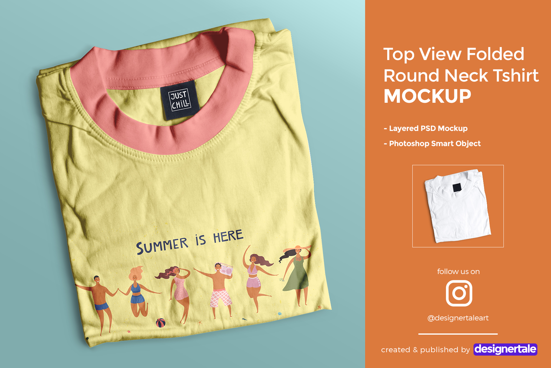 top view folded round neck tshirt mockup