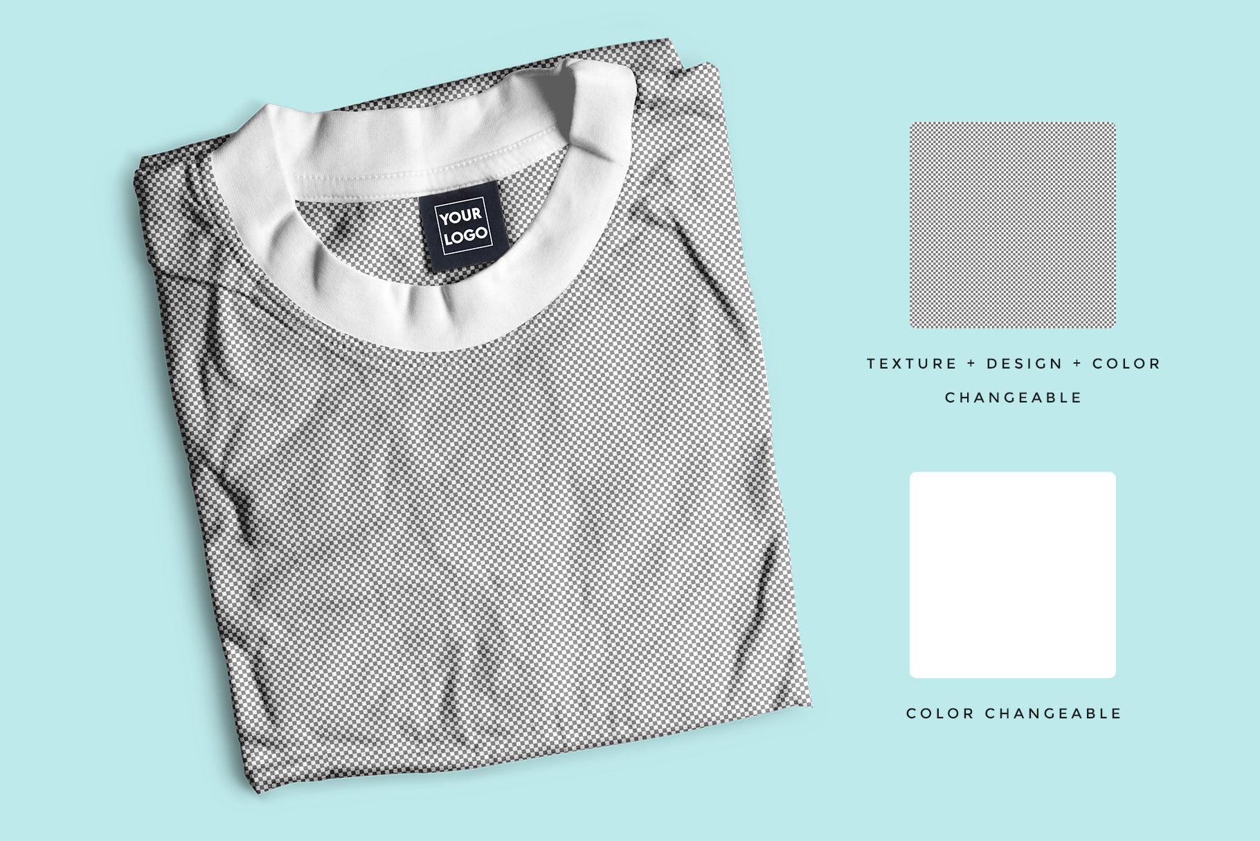 editability of the top view folded round neck tshirt mockup