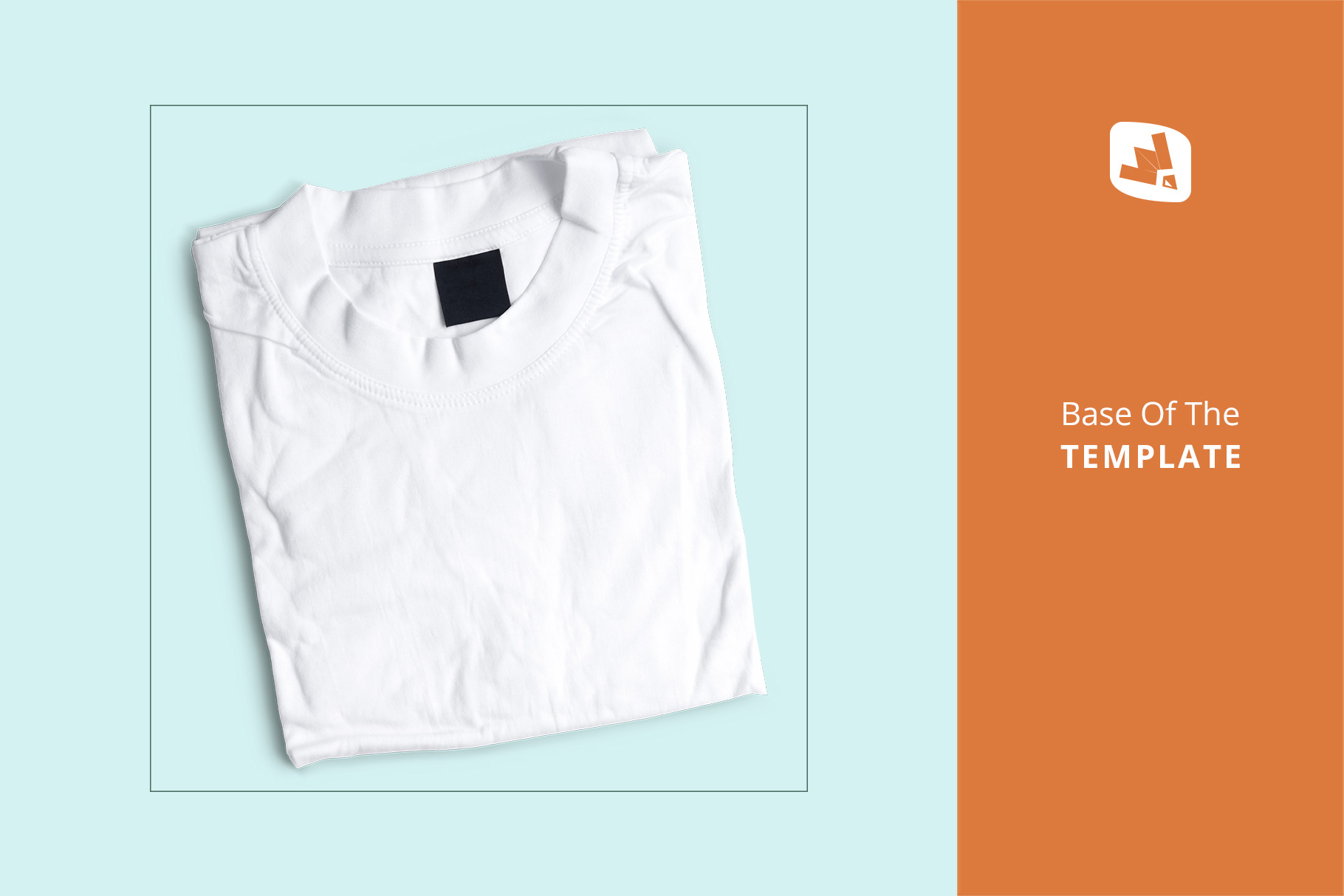 base image of the top view folded round neck tshirt mockup