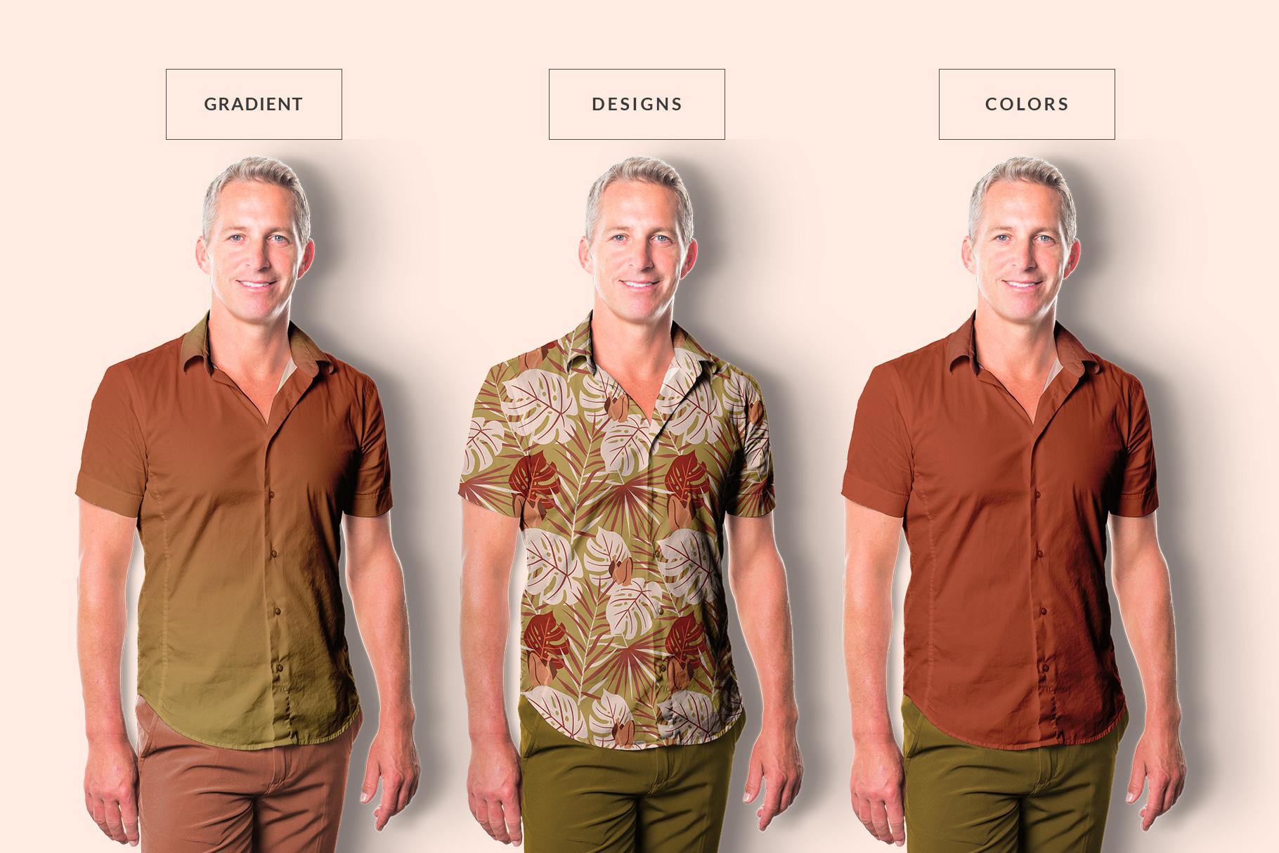 types of the men's hawaiian shirt mockup