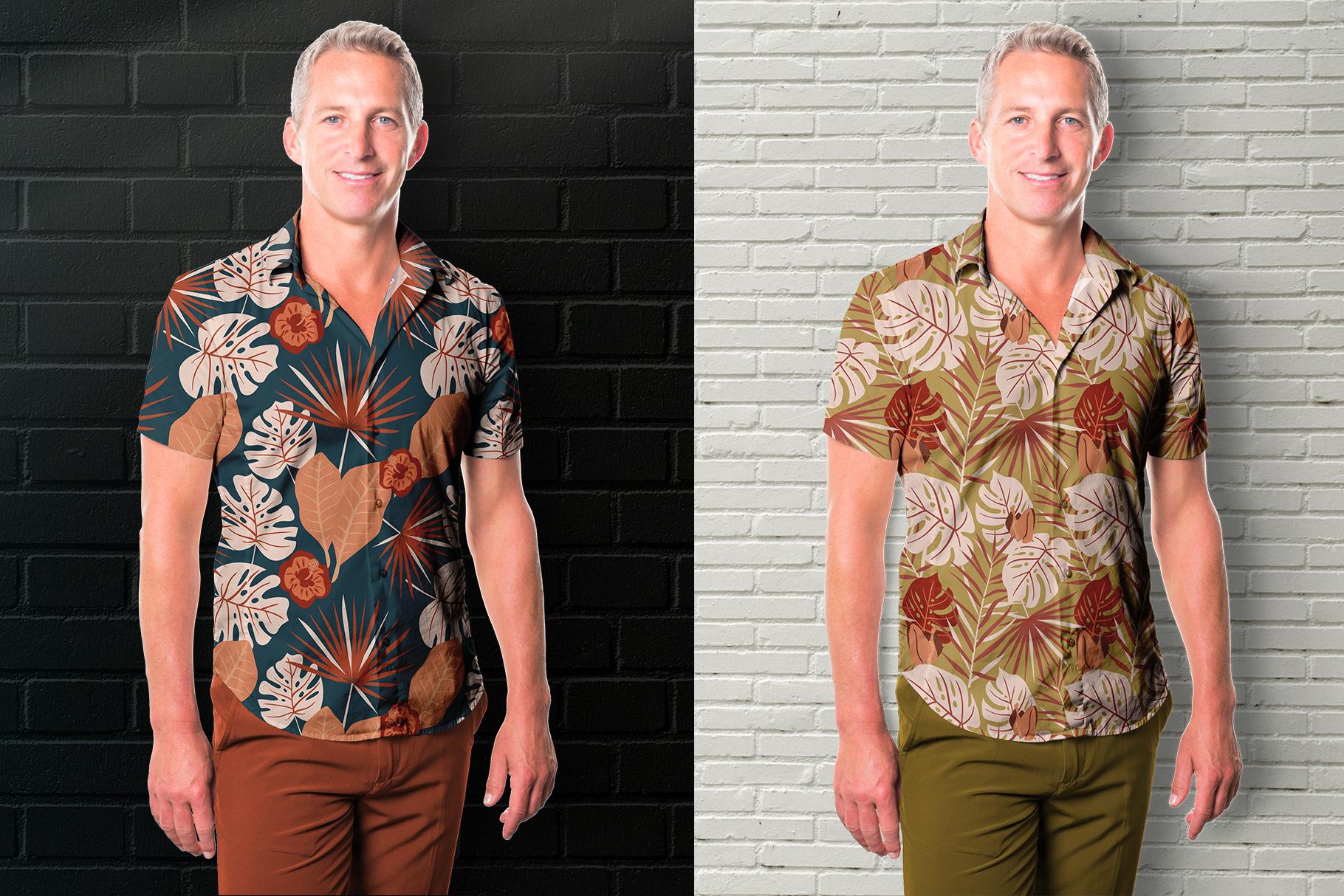 background option of the men's hawaiian shirt mockup