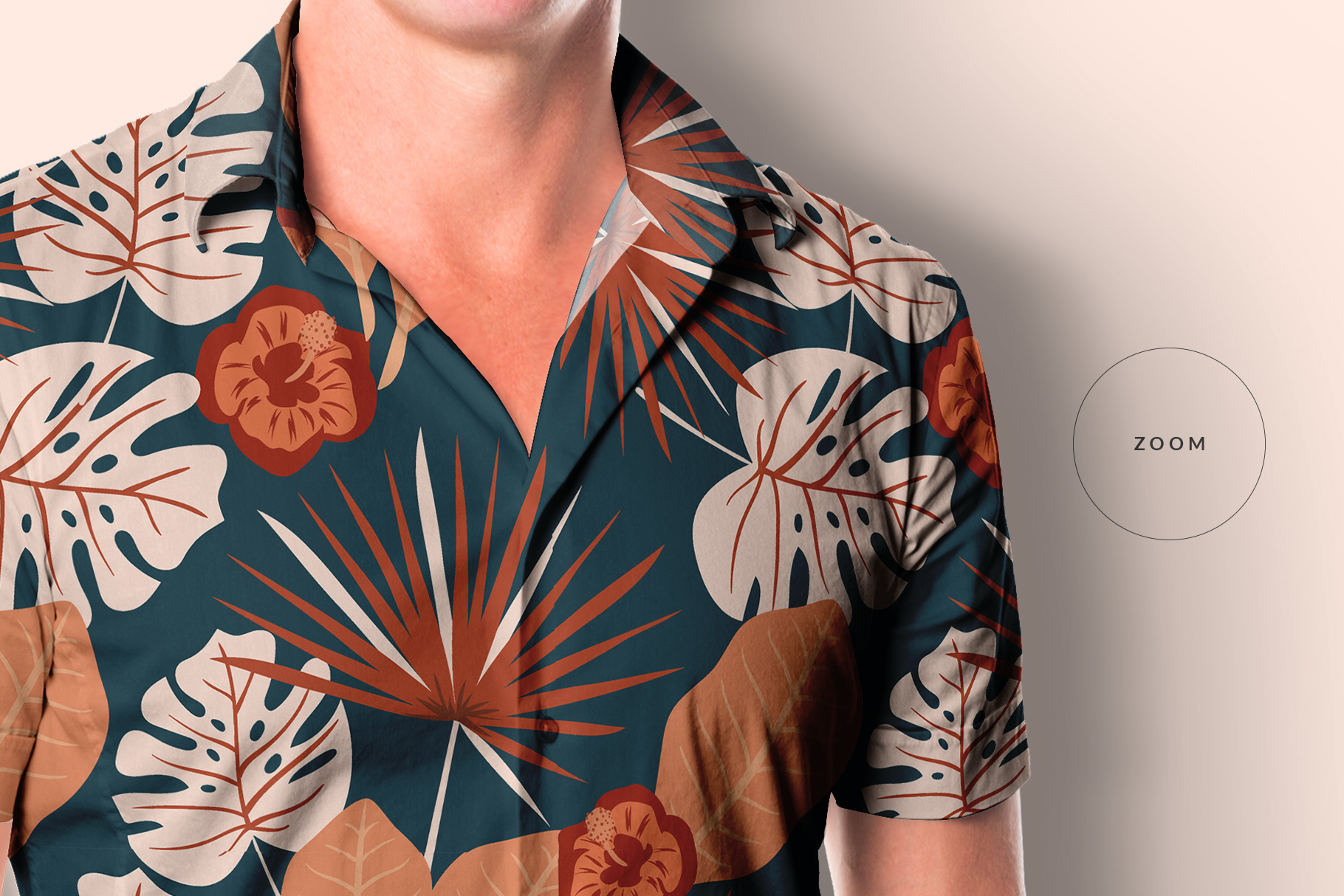 zoomed in image of the men's hawaiian shirt mockup