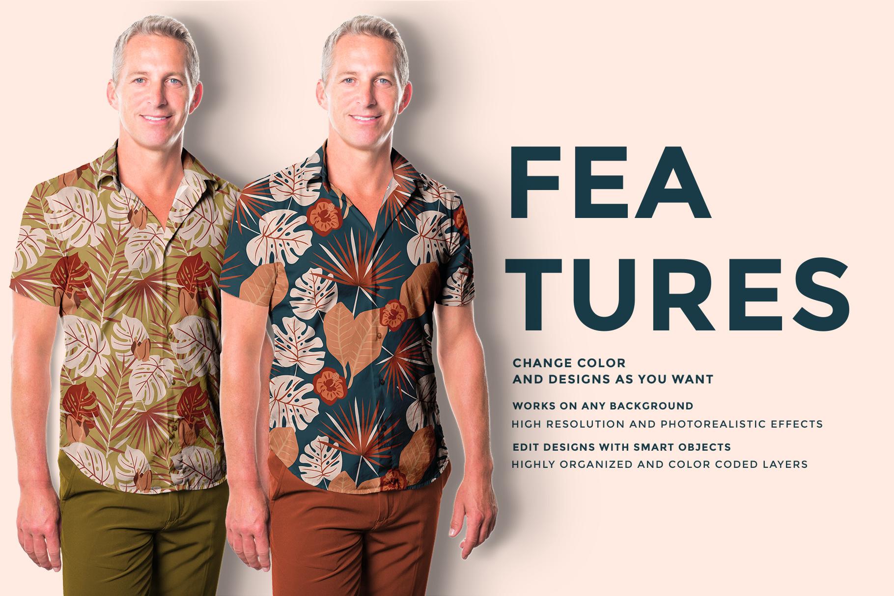 features of the men's hawaiian shirt mockup