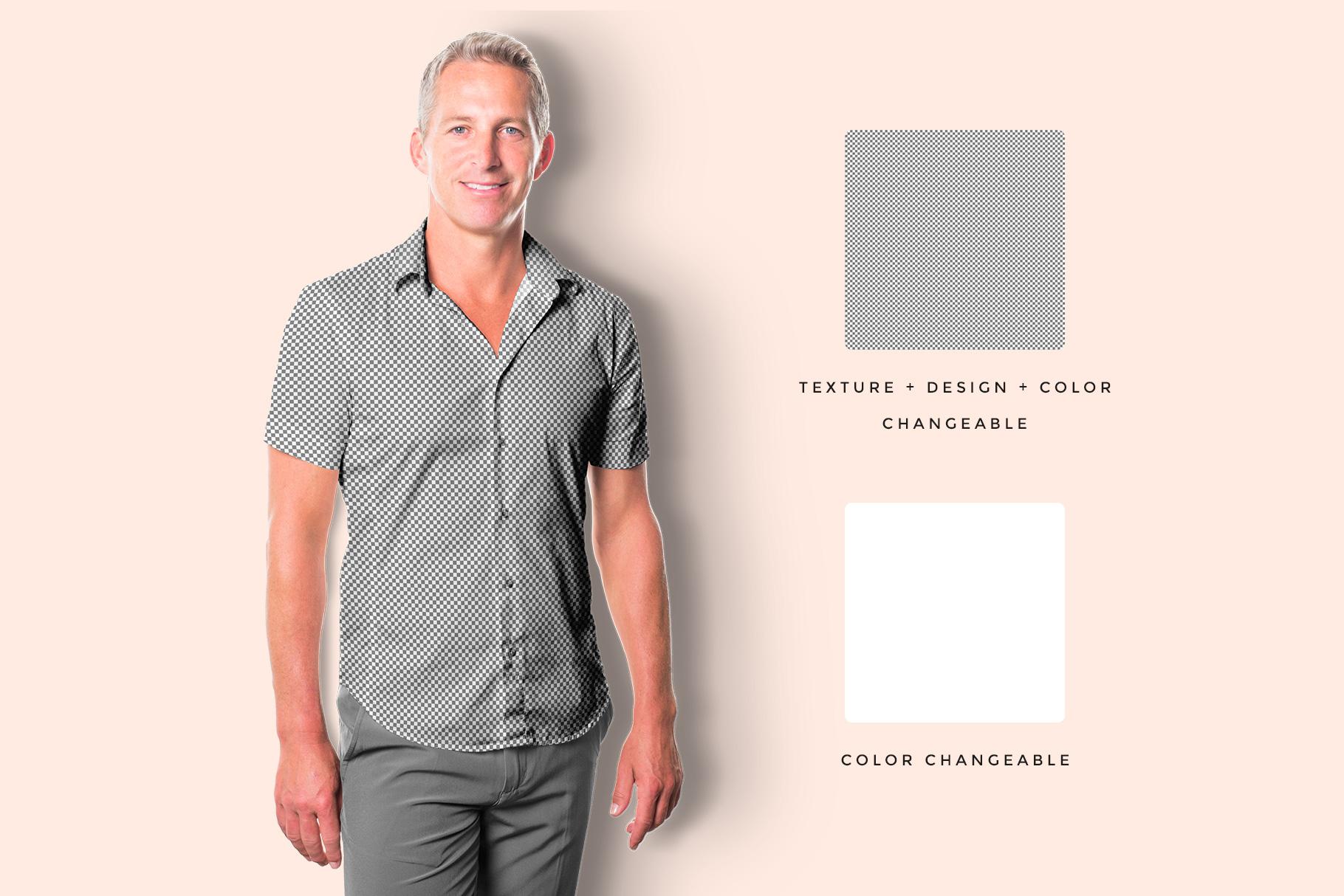 editability of the men's hawaiian shirt mockup