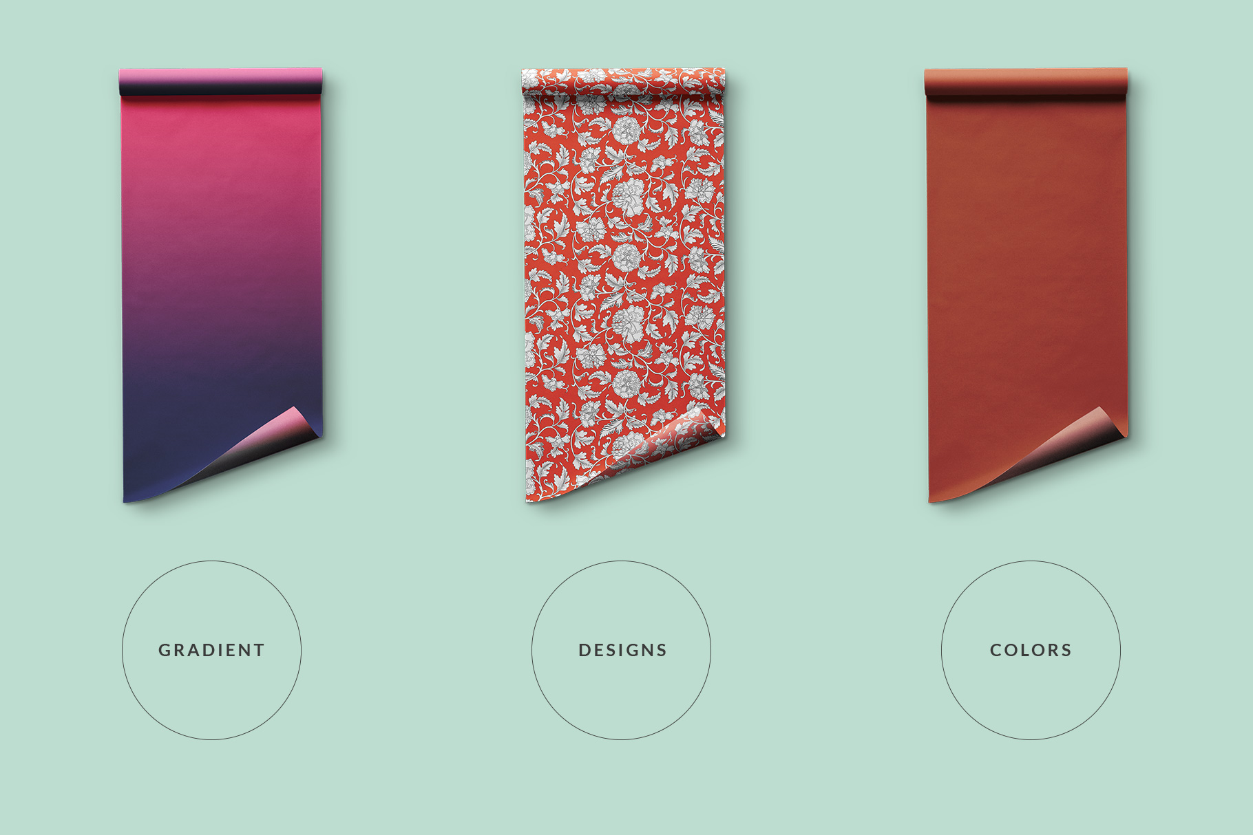 types of the top view wrapping paper roll mockup