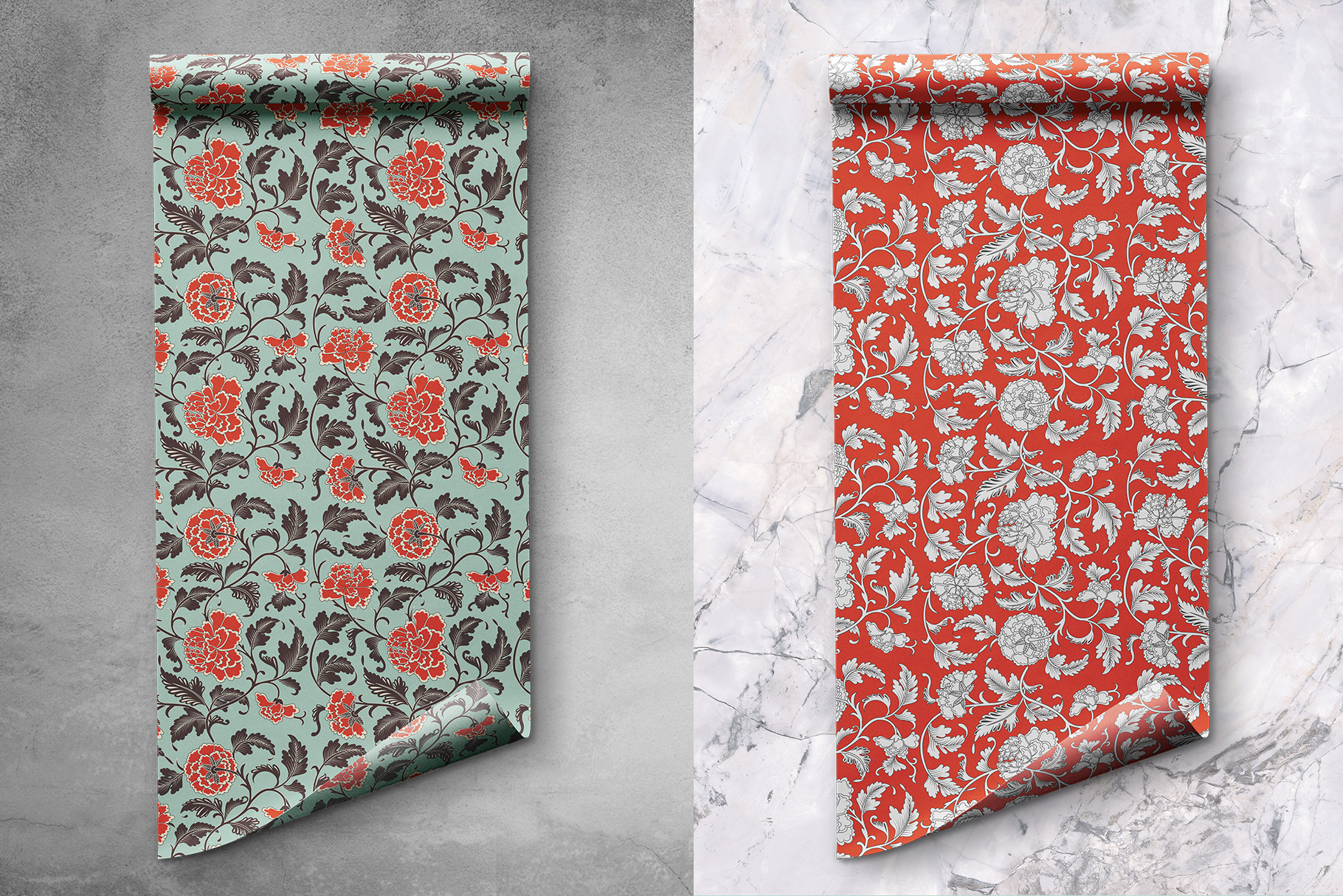 background options of the top view wrapping paper roll mockup