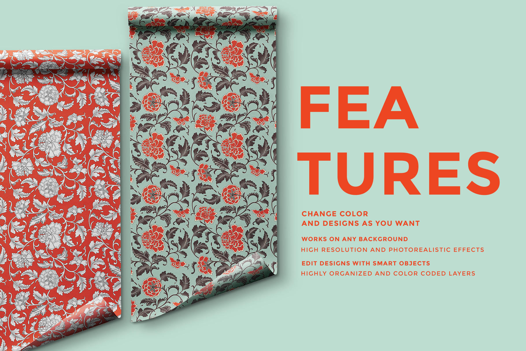 features of the top view wrapping paper roll mockup
