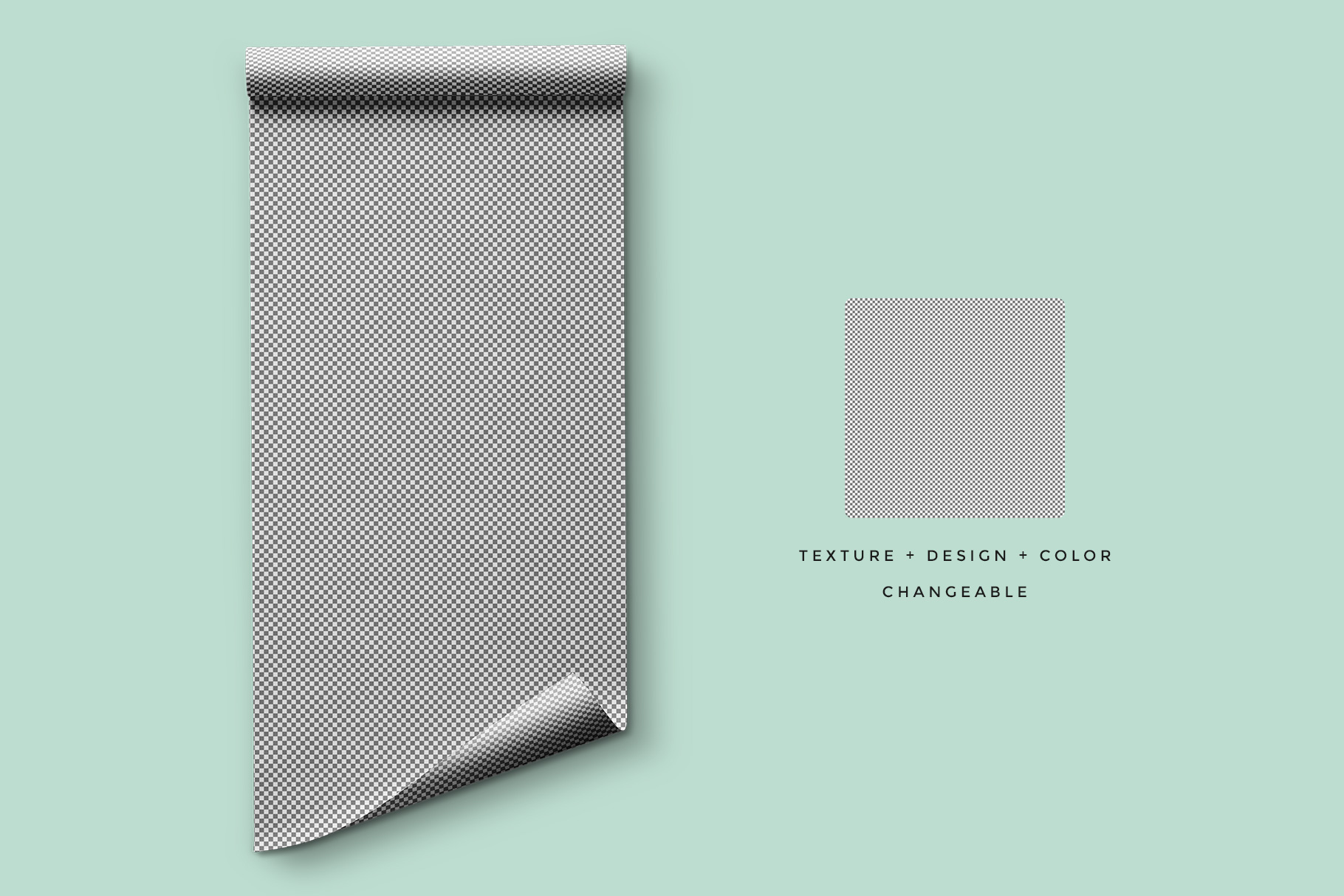 editability of the top view wrapping paper roll mockup