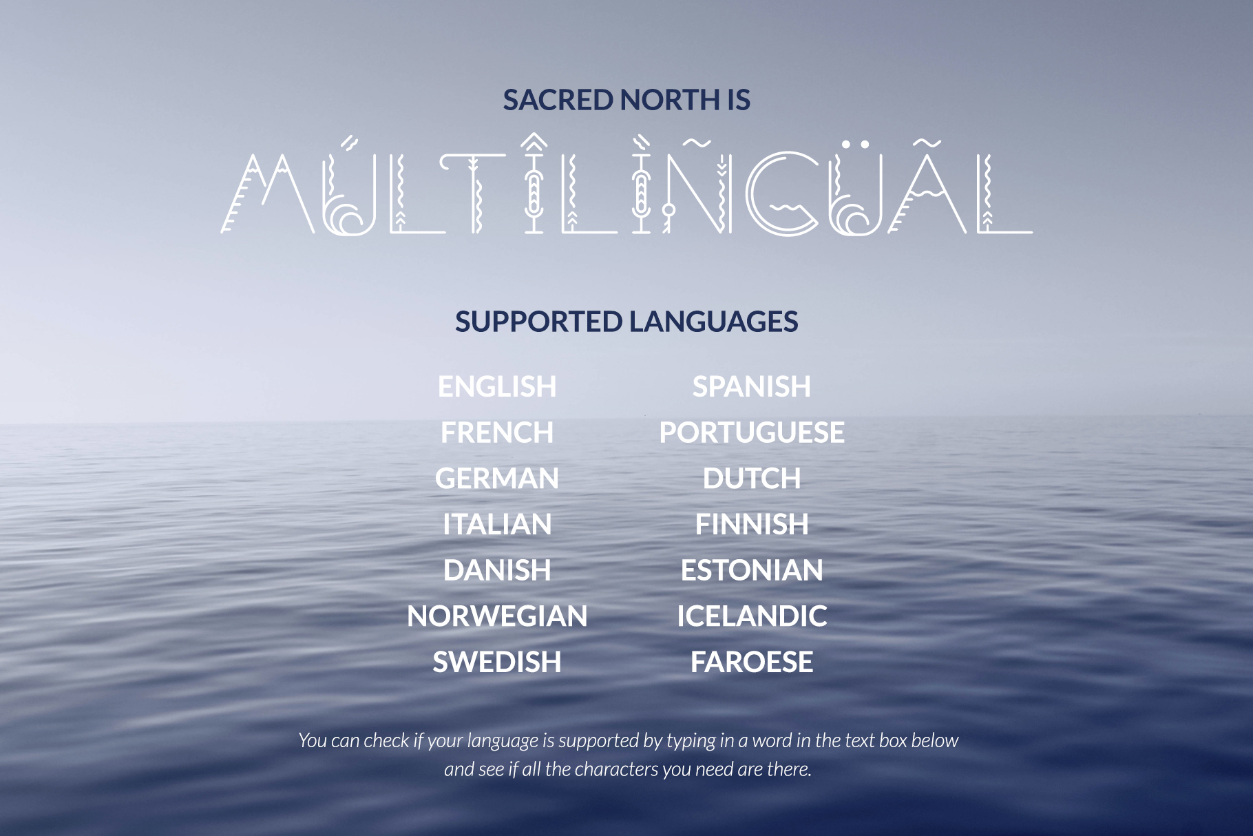 Multilingual – Sacred North Typeface – Preview Image