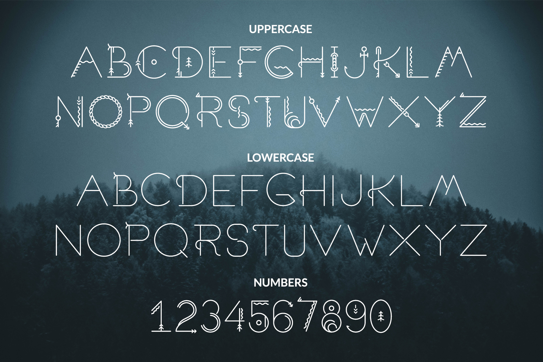 Alphabet and numbers – Sacred North – Preview Image