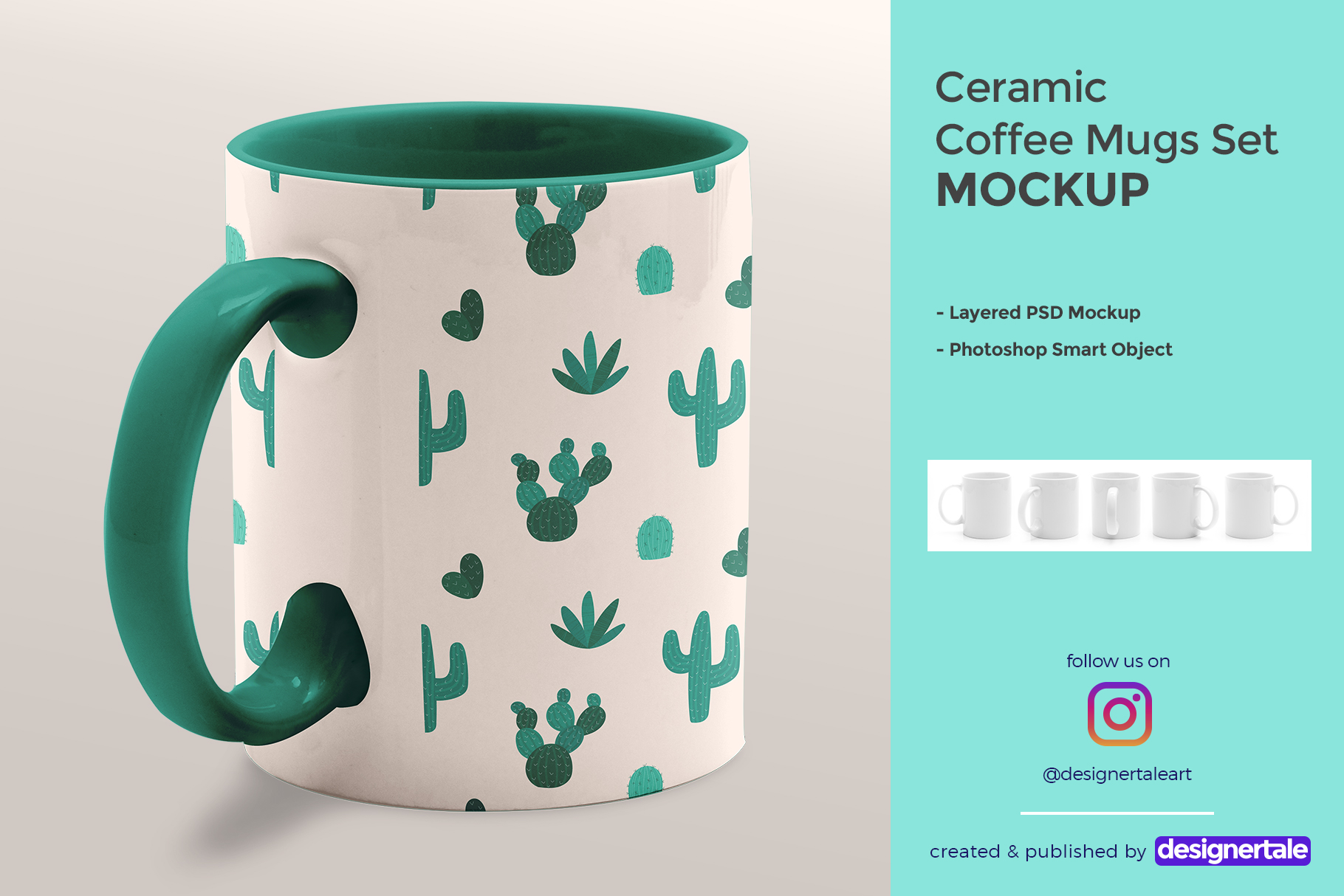 ceramic coffee mugs mockup set