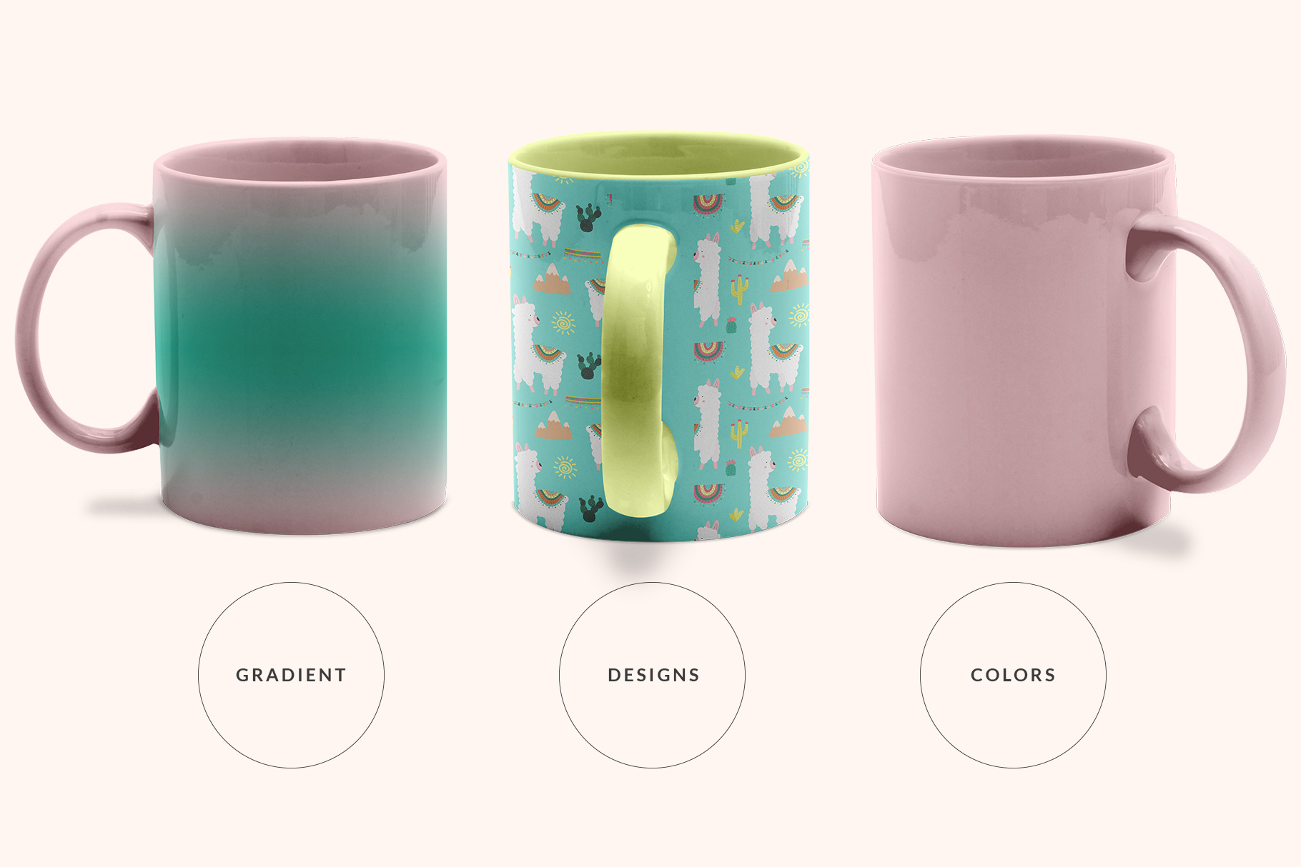 types of the ceramic coffee mugs mockup set