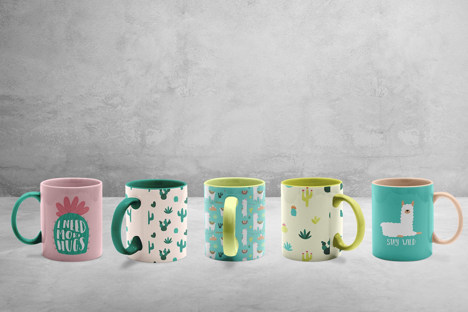 background options of the ceramic coffee mugs mockup set