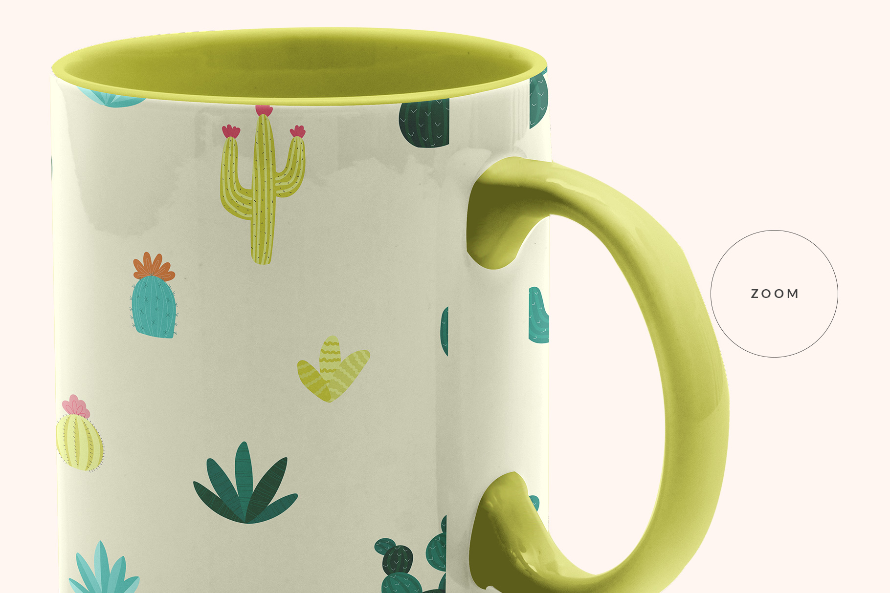 zoomed in image of the ceramic coffee mugs mockup set