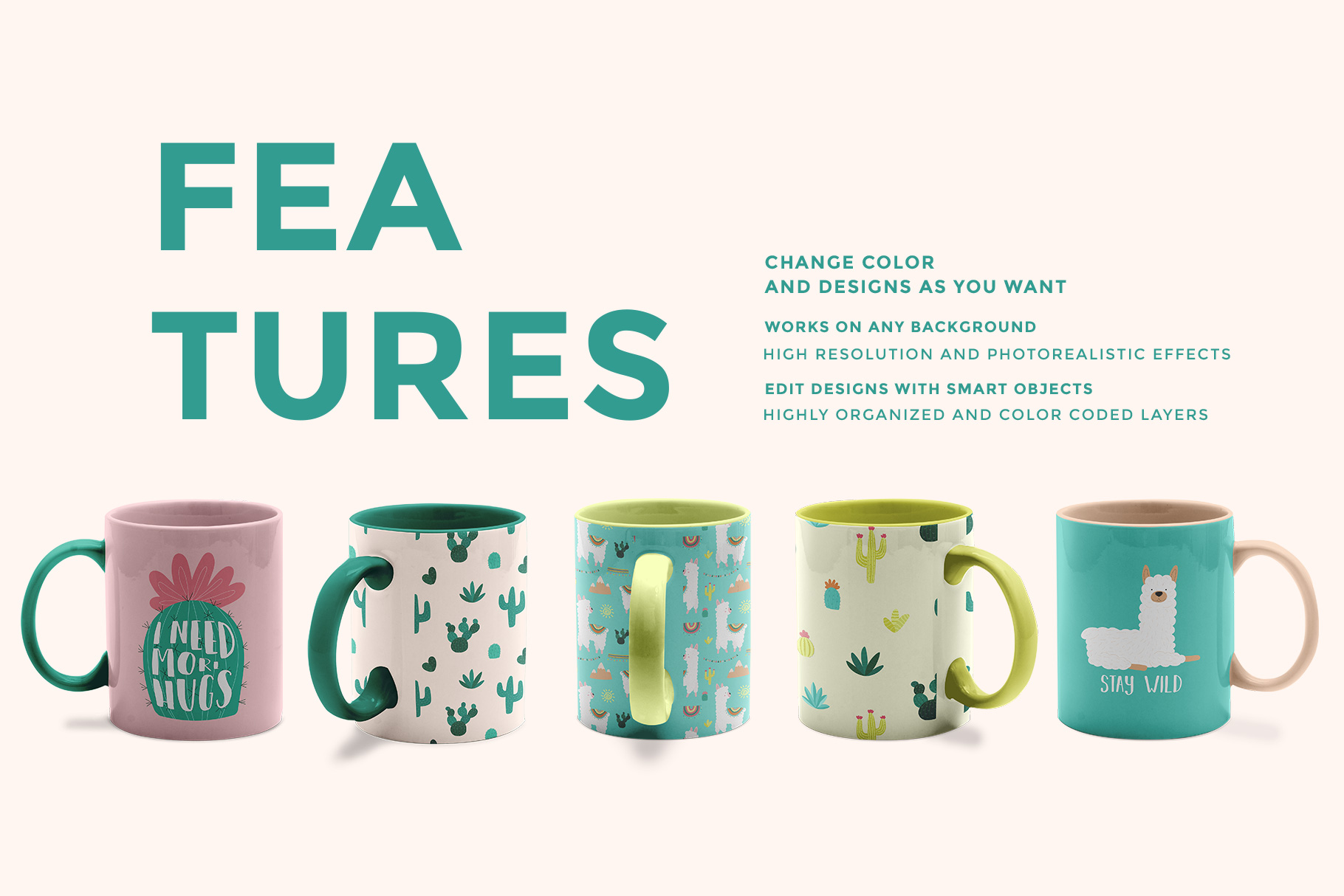 features of the ceramic coffee mugs mockup set