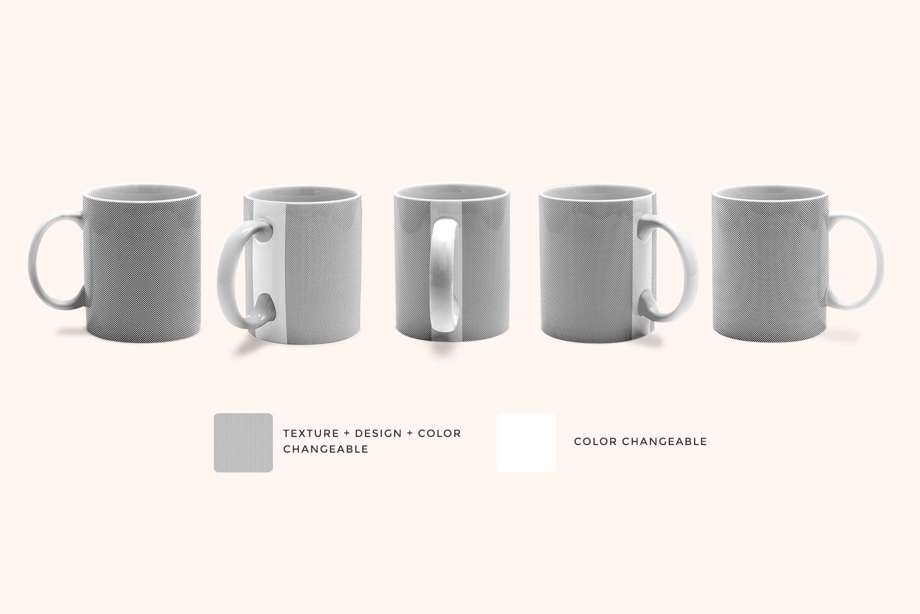 editability of the ceramic coffee mugs mockup set