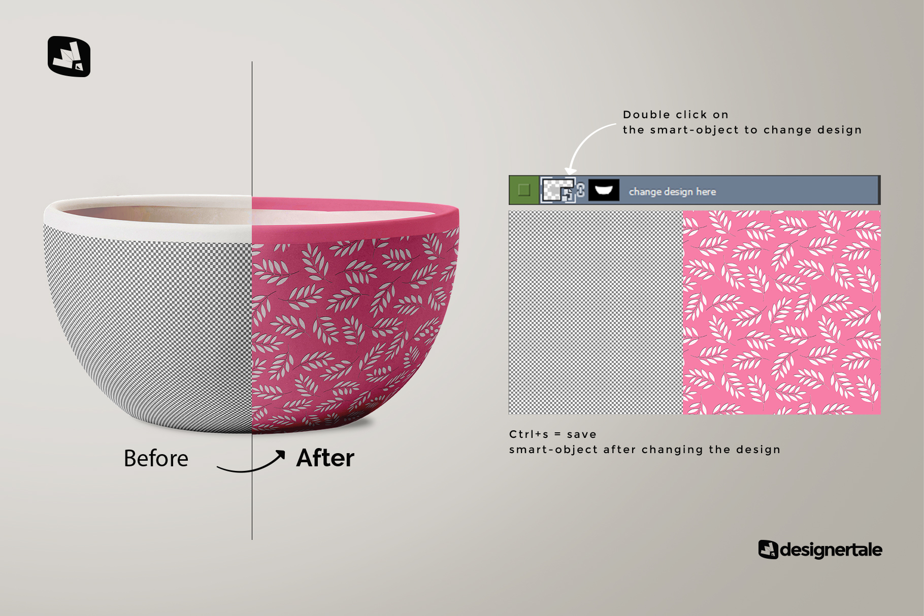 how to change design of the front view bowl mockup vol.1