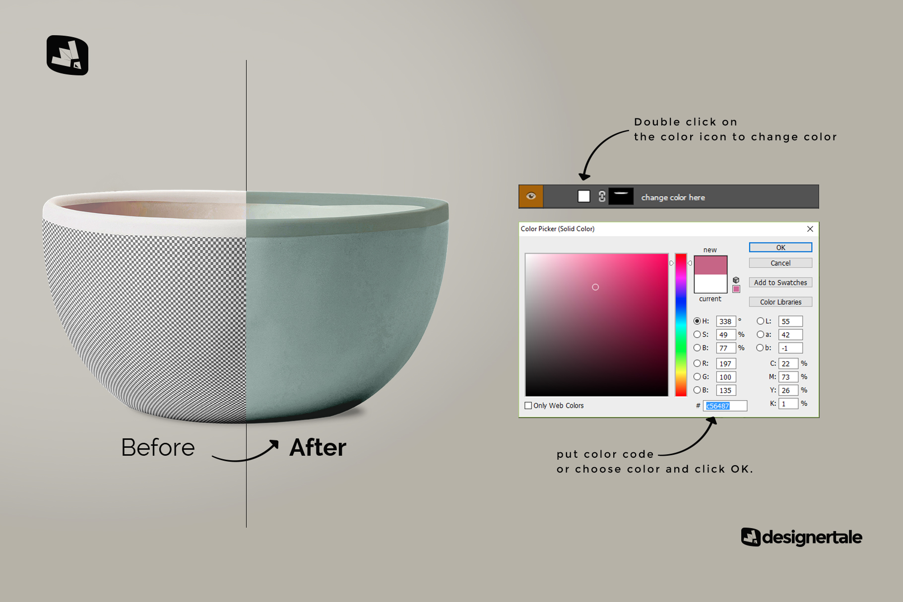 how to change color of the front view bowl mockup vol.1