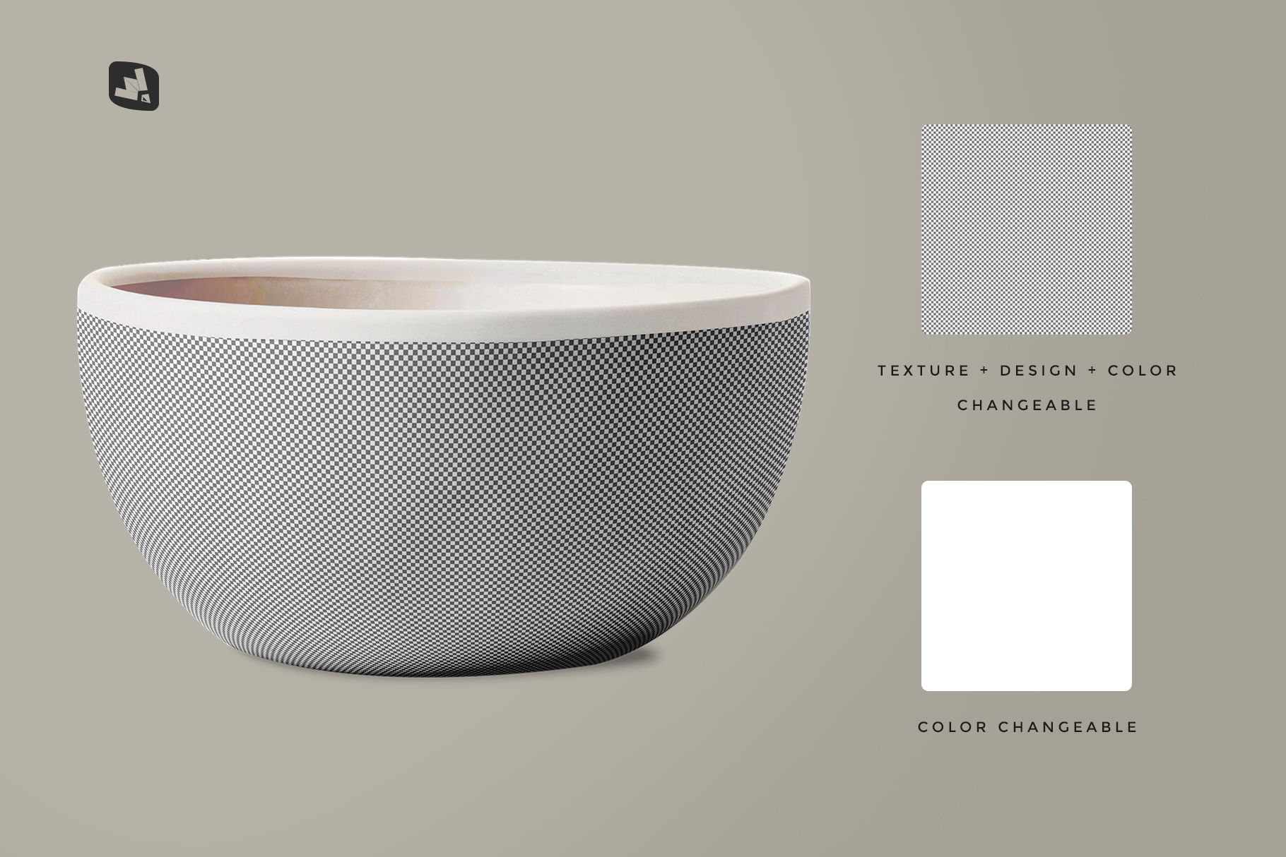 editability of the front view bowl mockup vol.1
