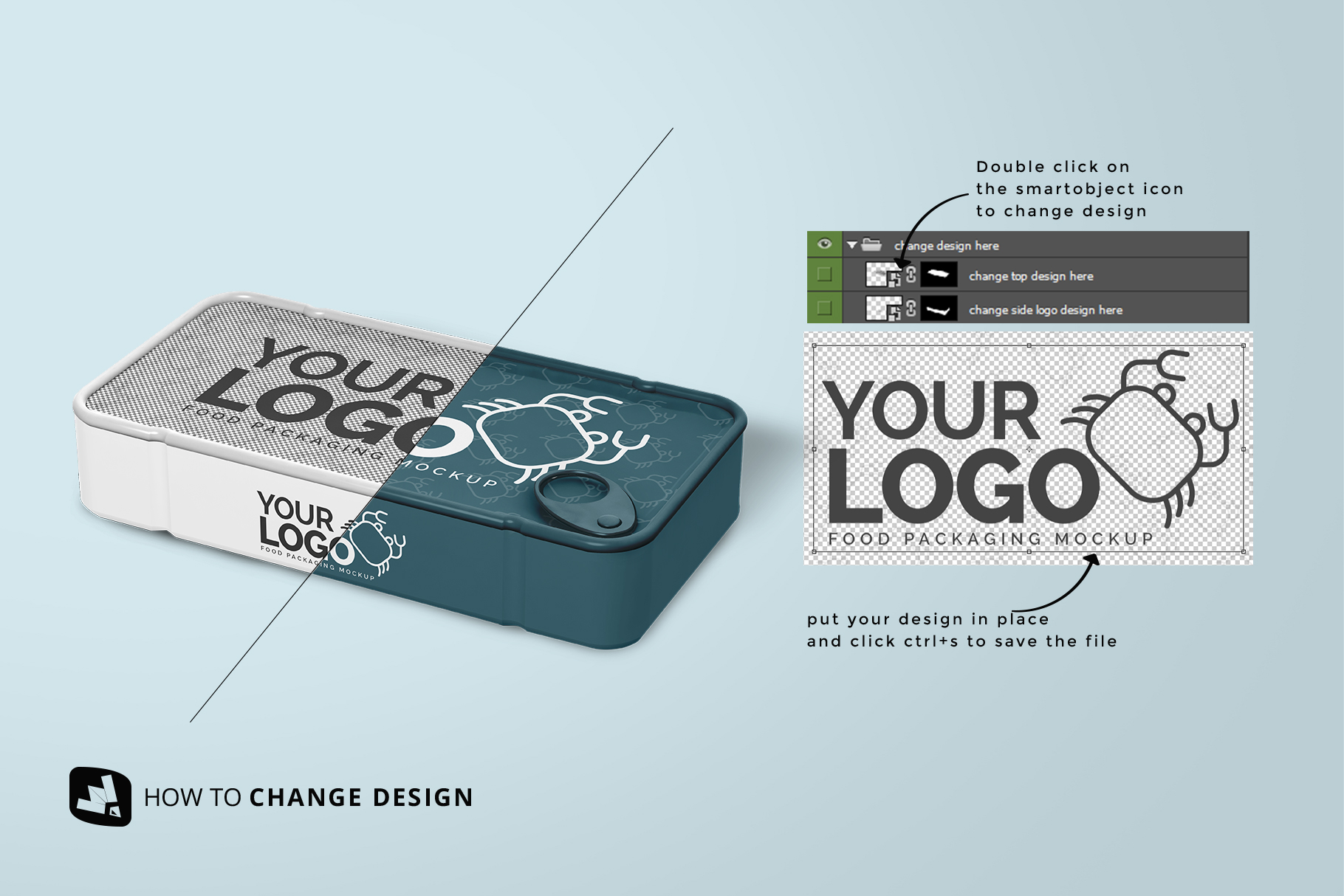 how to change design of the canned food packaging mockup