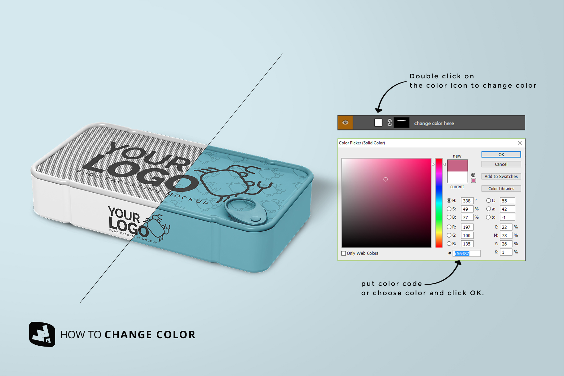 how to change color of the canned food packaging mockup