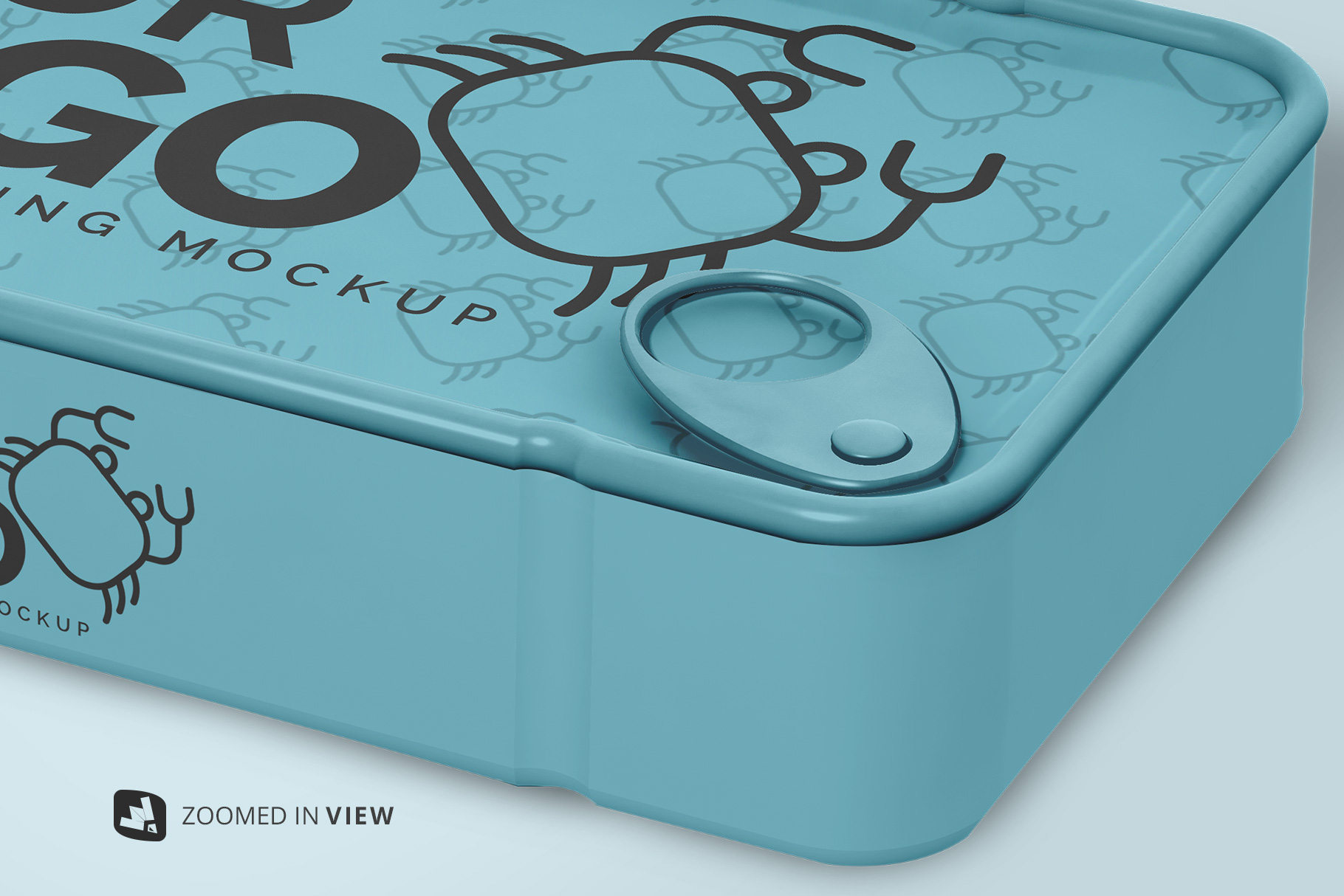 zoomed in image of the canned food packaging mockup
