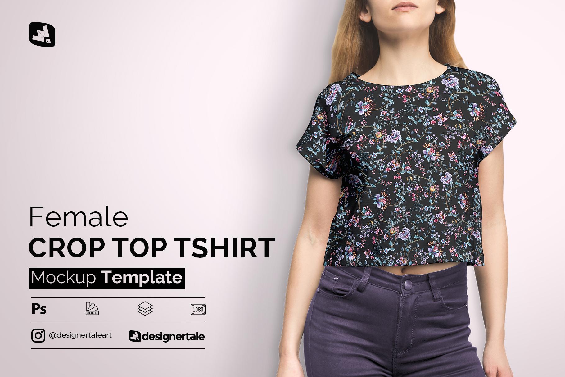 female crop top tshirt mockup