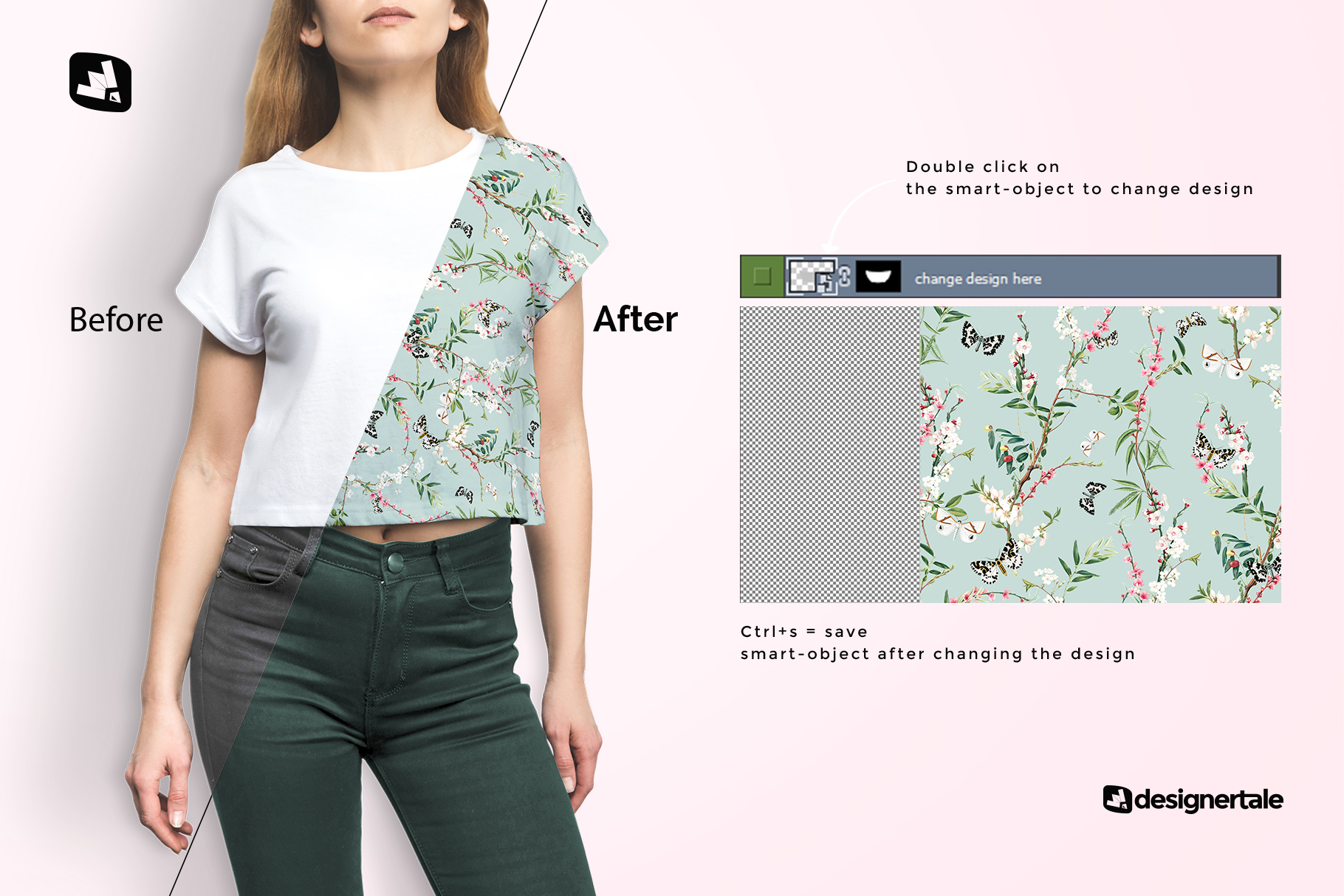 how to change design of the female crop top tshirt mockup