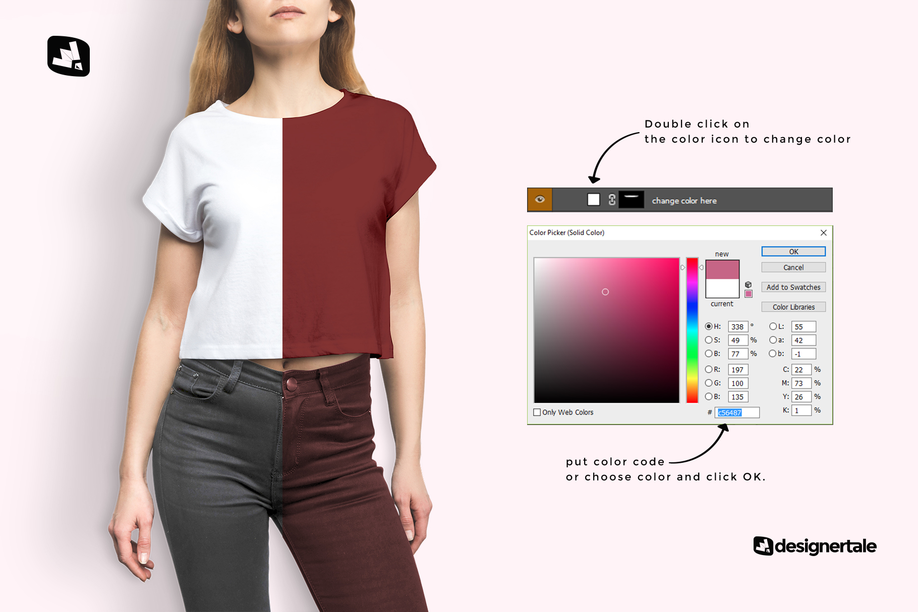 how to change color of the female crop top tshirt mockup