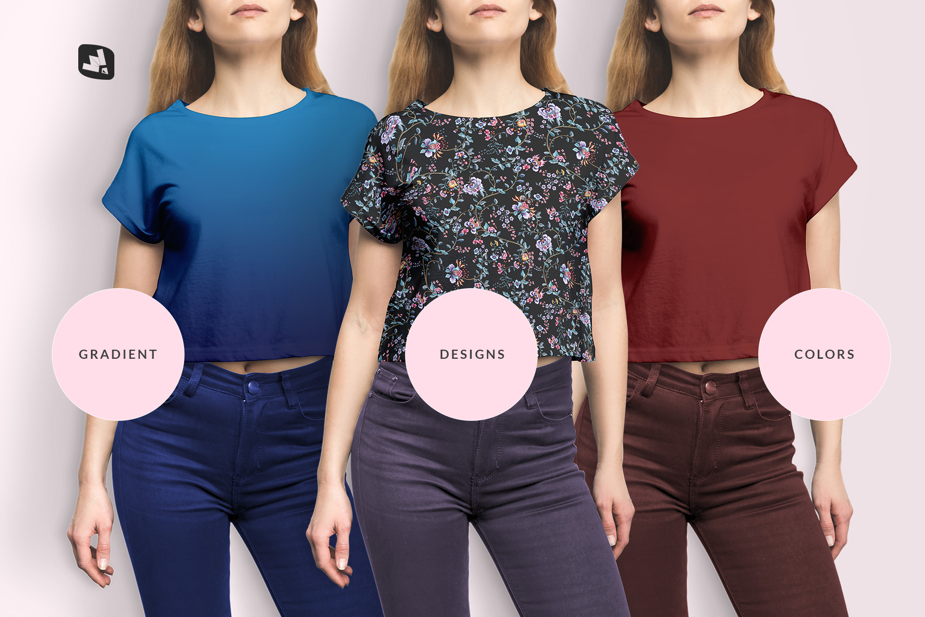 types of the female crop top tshirt mockup