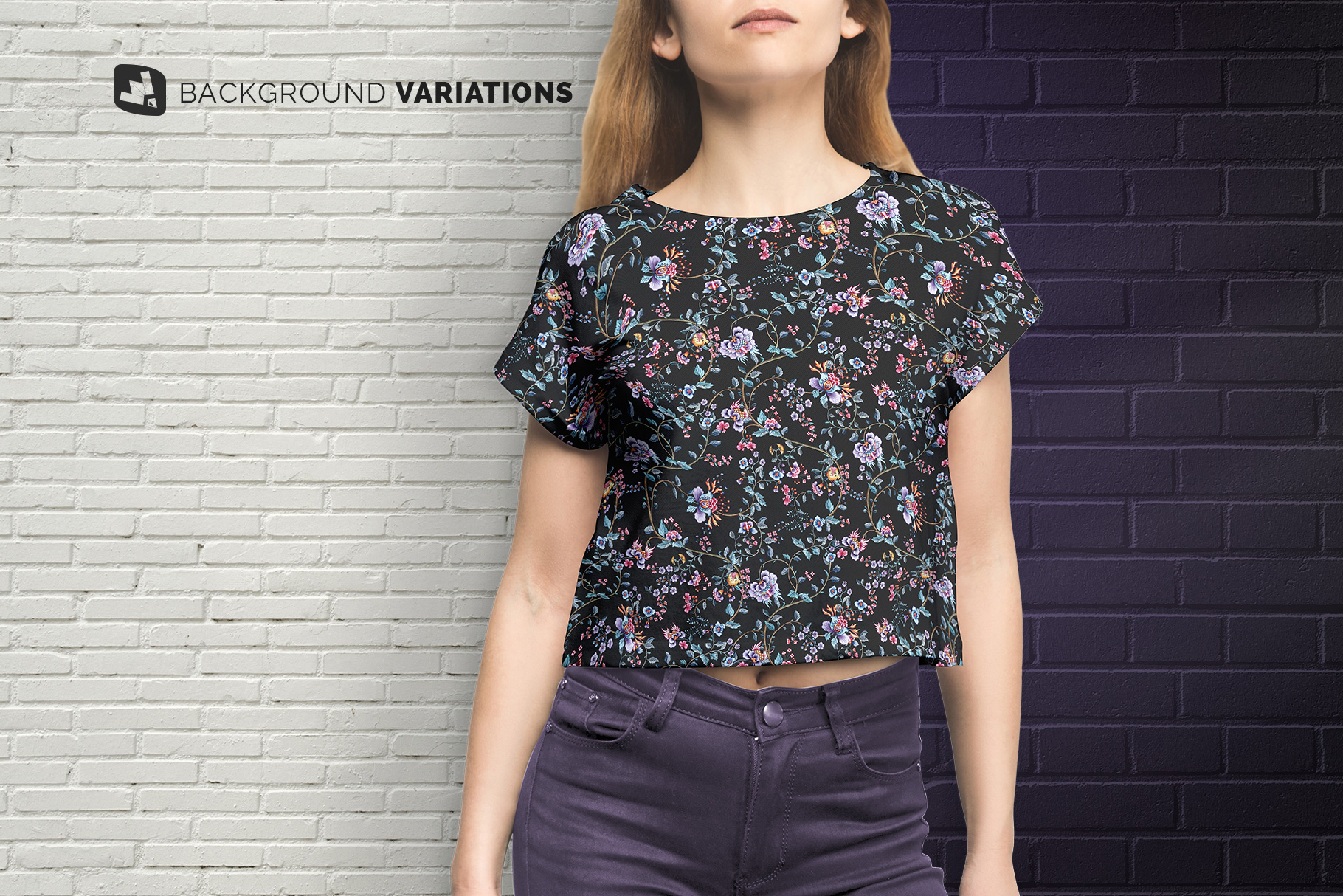 background options of the female crop top tshirt mockup