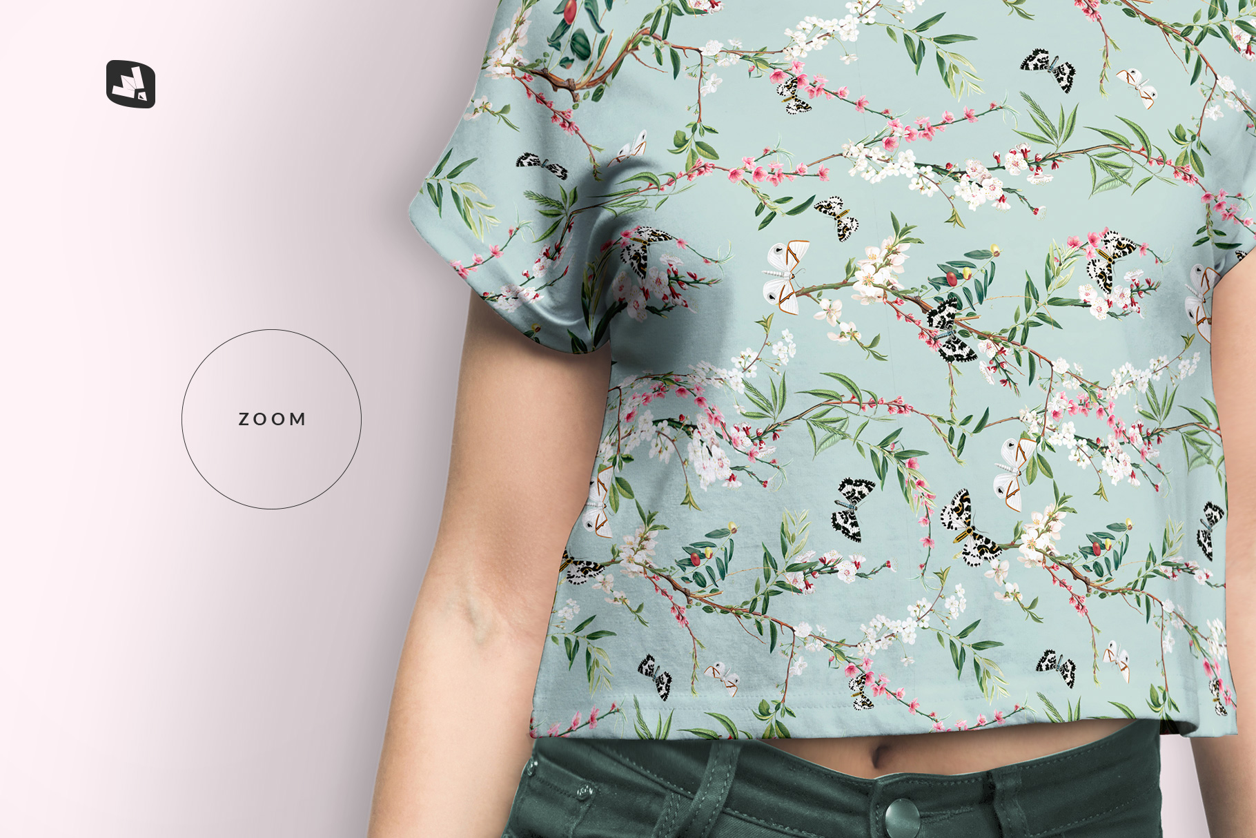 zoomed in image of the female crop top tshirt mockup