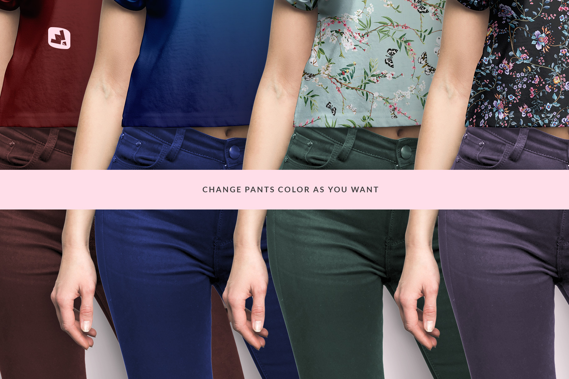 cusmoizable colors of the female crop top tshirt mockup
