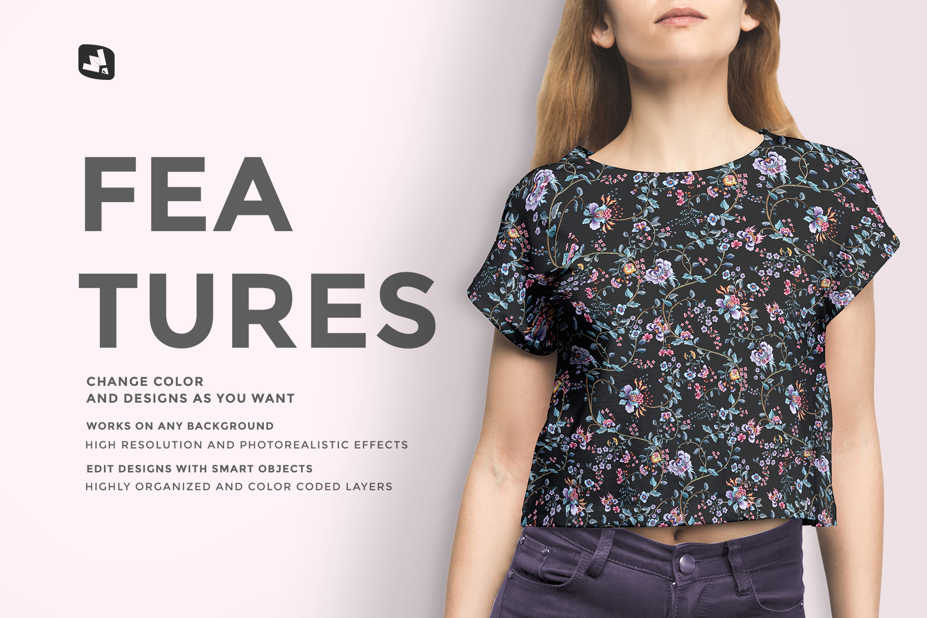 features of the female crop top tshirt mockup