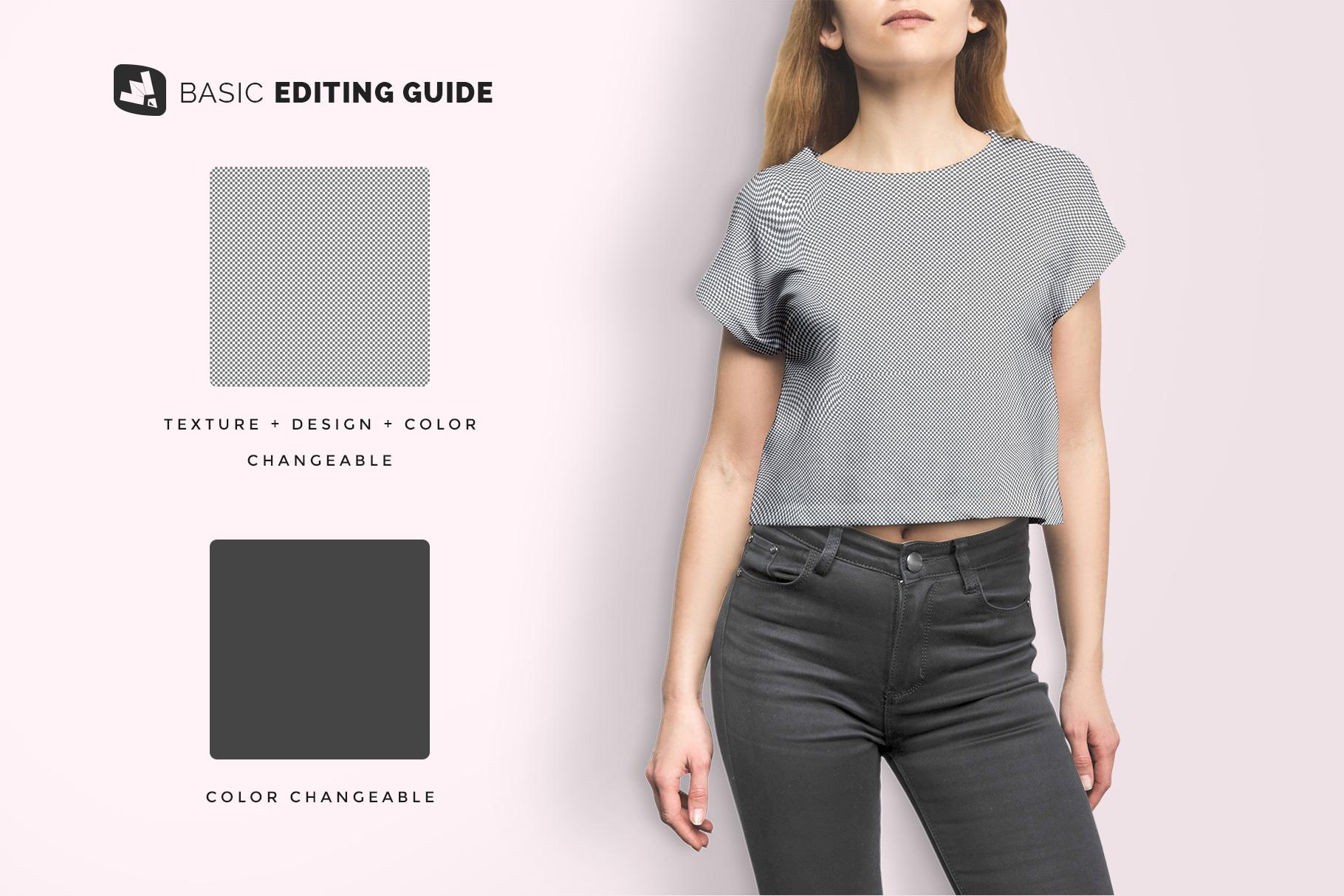 editability of the female crop top tshirt mockup