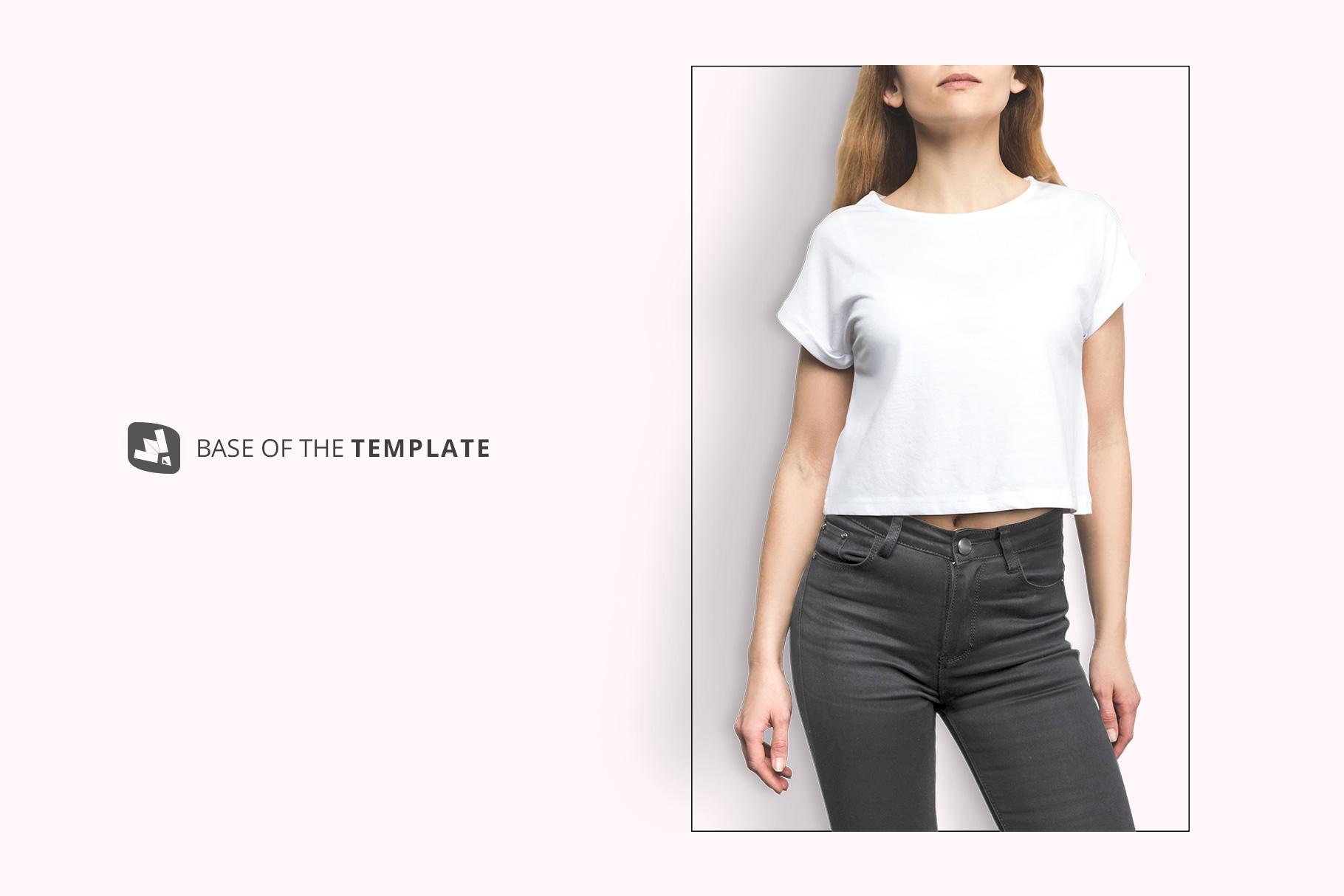 base image of the female crop top tshirt mockup